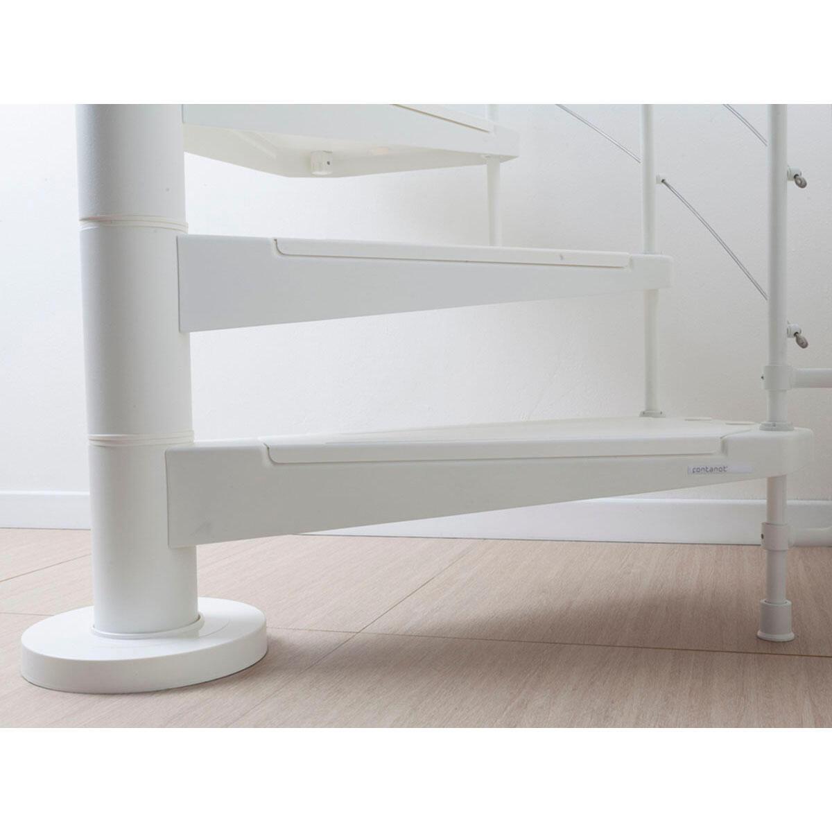 Scala a chiocciola tonda Gexi FONTANOT L 160 cm, gradino bianco, struttura bianco - 6