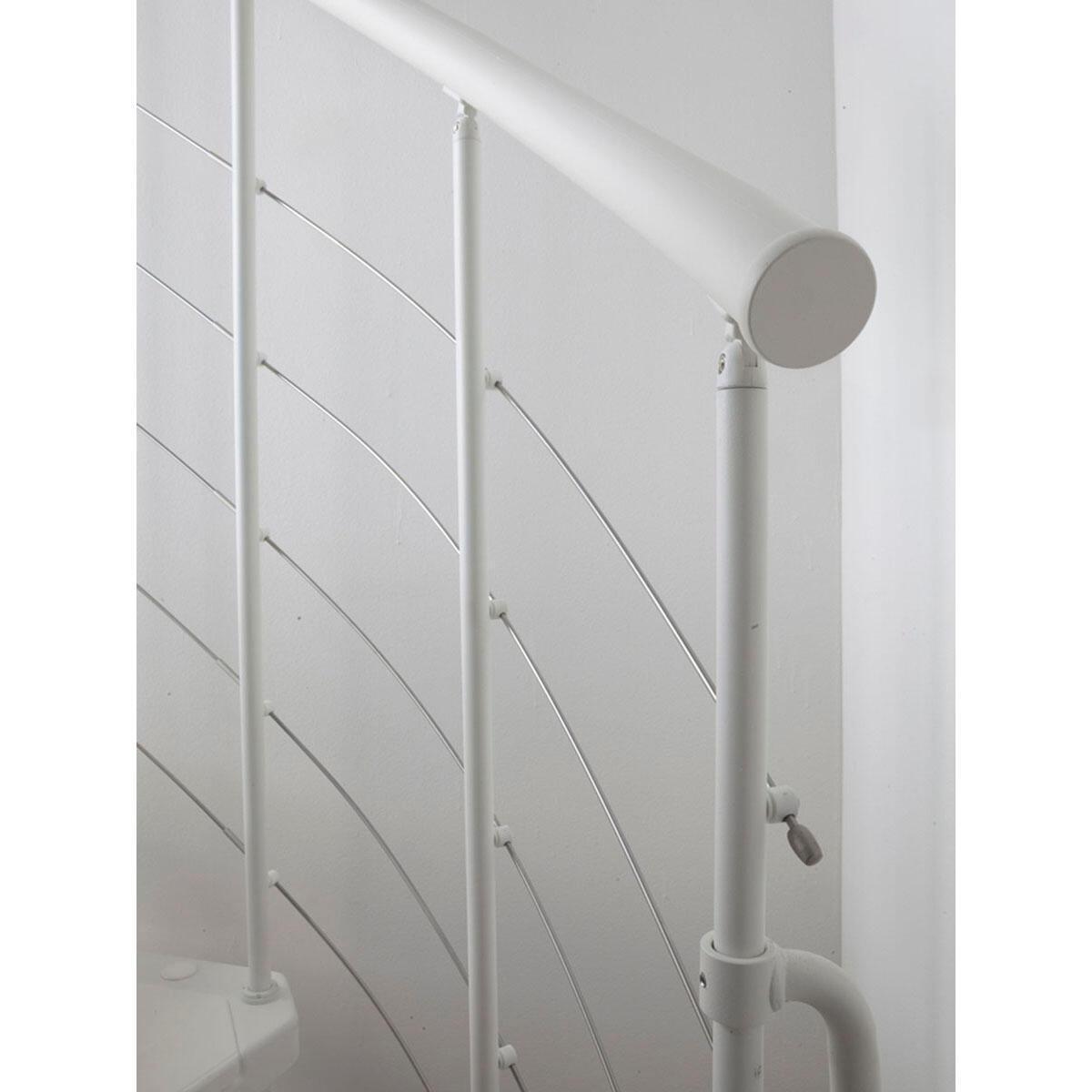 Scala a chiocciola tonda Gexi FONTANOT L 120 cm, gradino bianco, struttura bianco - 6