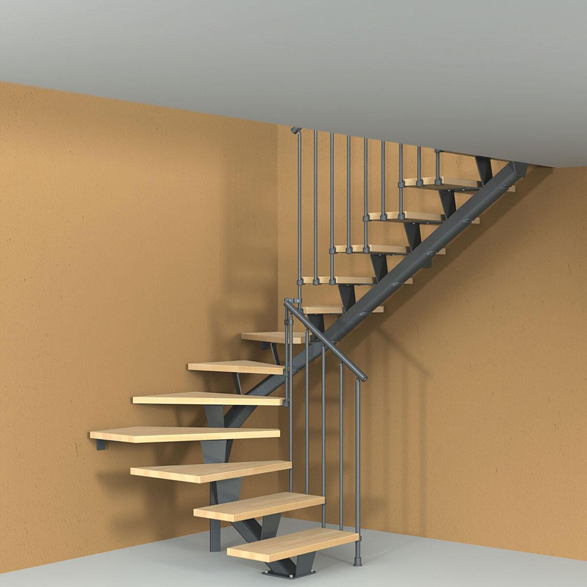 Scala a rampa due quarti di giro Mas 030 FONTANOT L 75 cm, gradino naturale, struttura antracite - 1