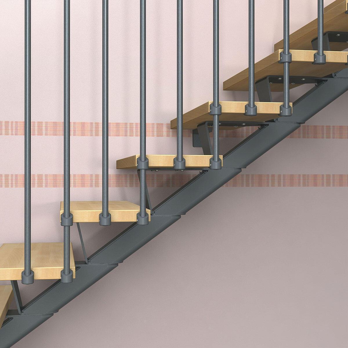 Scala a rampa due quarti di giro Mas 030 FONTANOT L 85 cm, gradino naturale, struttura antracite - 4