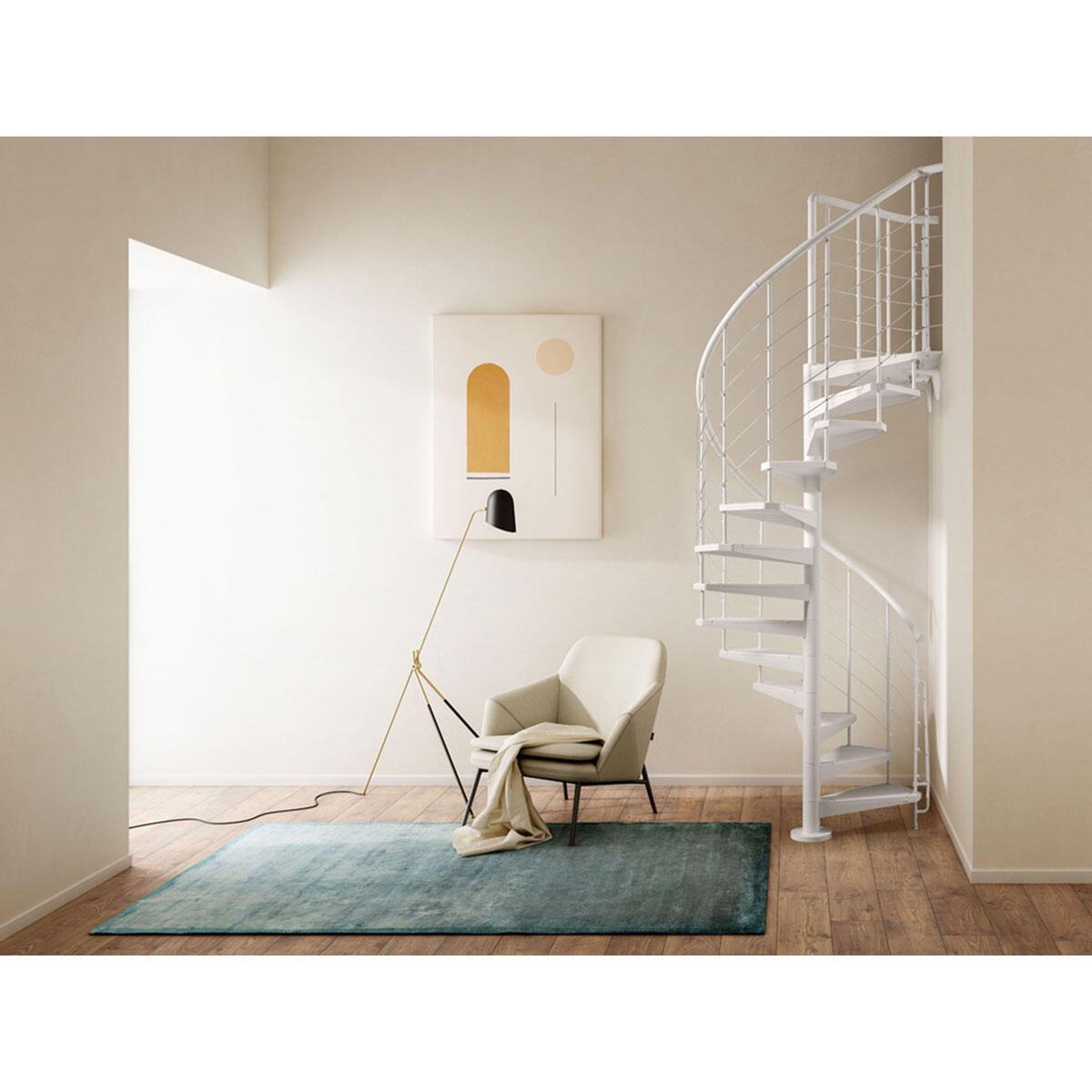 Scala a chiocciola tonda Gexi FONTANOT L 120 cm, gradino bianco, struttura bianco - 1