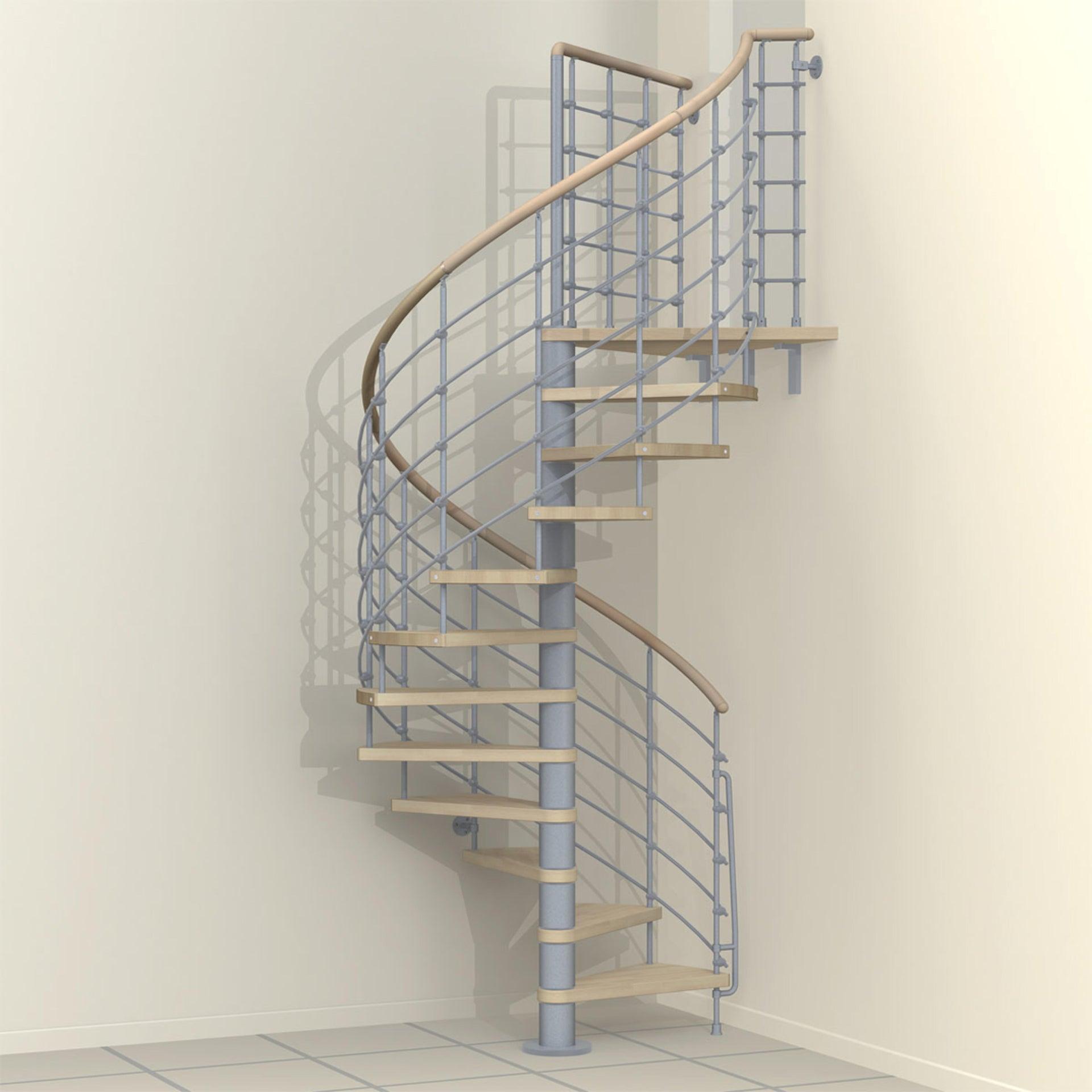 Scala a chiocciola tonda Inside FONTANOT L 160 cm, gradino naturale, struttura grigio