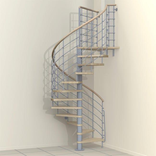 Scala a chiocciola tonda Inside FONTANOT L 160 cm, gradino naturale, struttura grigio - 1