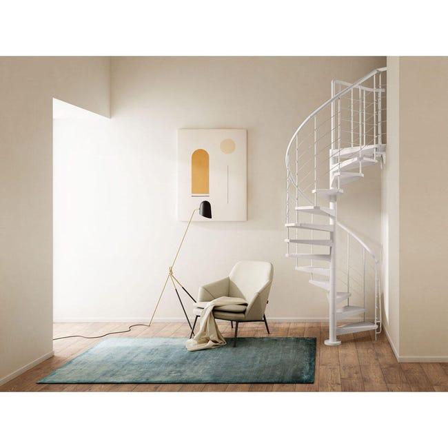Scala a chiocciola tonda Gexi FONTANOT L 160 cm, gradino bianco, struttura bianco - 1