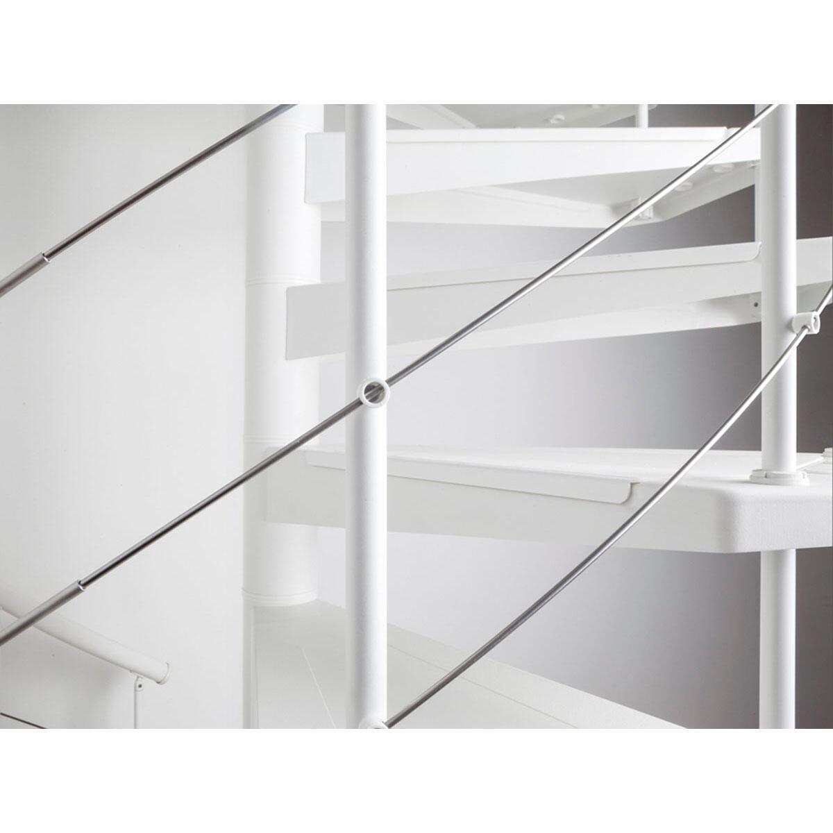 Scala a chiocciola tonda Gexi FONTANOT L 140 cm, gradino bianco, struttura bianco - 7