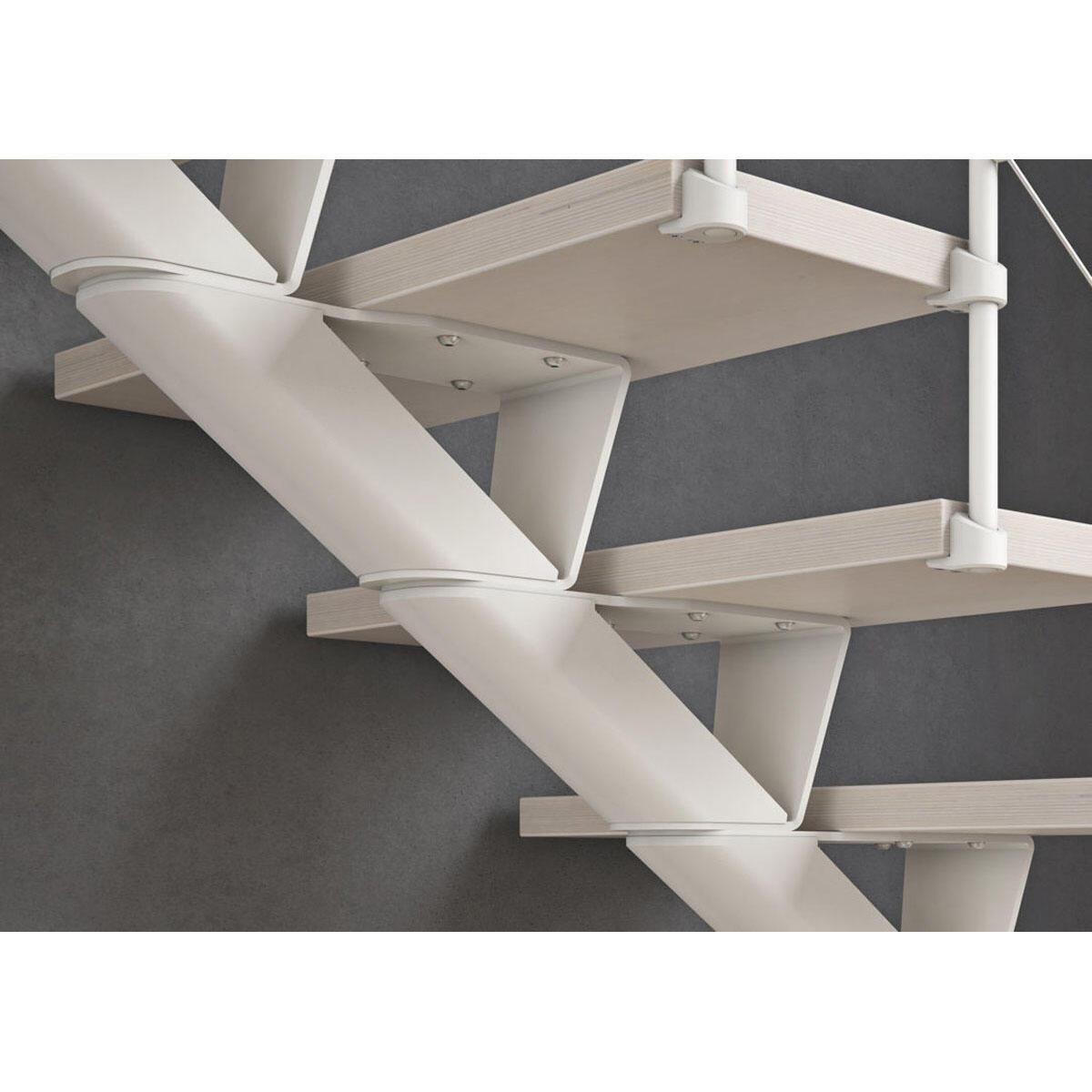 Scala a rampa 1/4 di giro Mas FONTANOT L 85 cm, gradino bianco, struttura bianco - 3