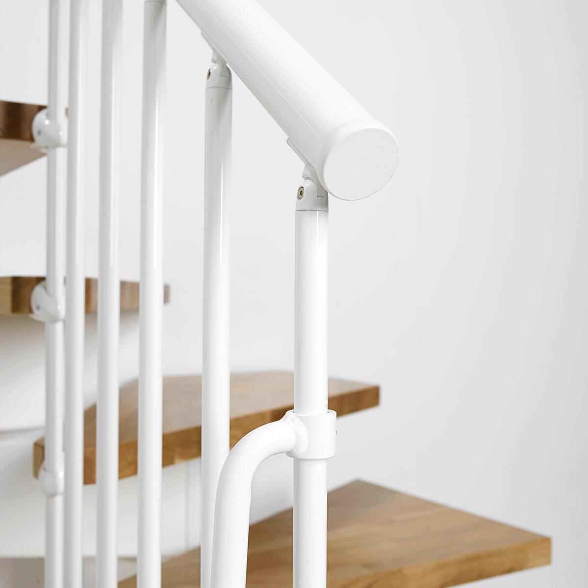 Scala a rampa 1/4 di giro OAK90 FONTANOT L 90 cm, gradino rovere, struttura bianco - 9
