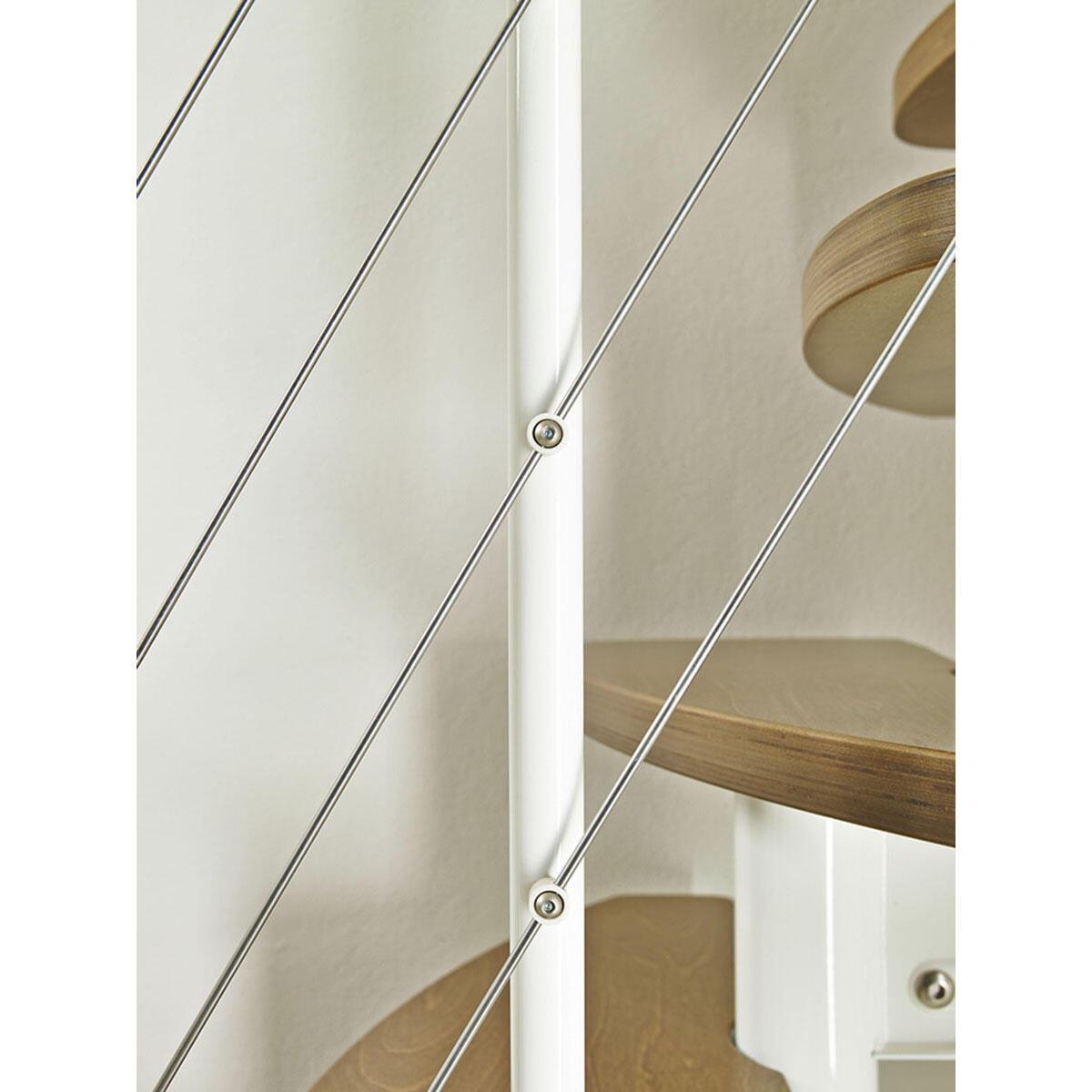 Scala salvaspazio dritto Zen FONTANOT L 59 cm, gradino betulla, struttura bianco - 8