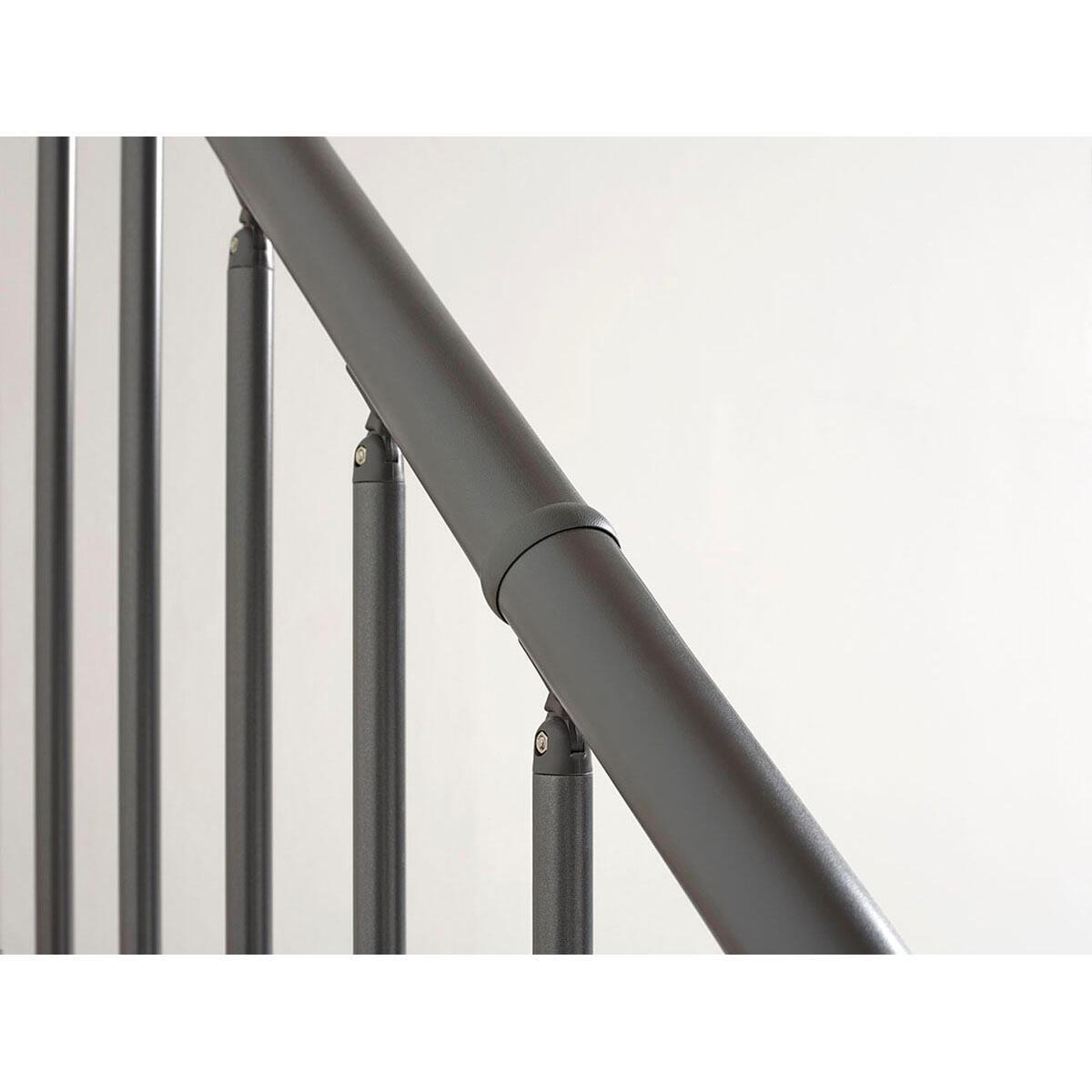 Scala a rampa 1/4 di giro OAK90 FONTANOT L 80 cm, gradino naturale, struttura antracite - 8