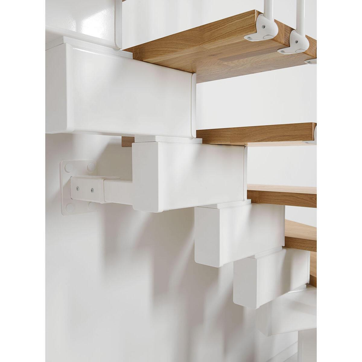 Scala a rampa due quarti di giro OAK90 FONTANOT L 70 cm, gradino rovere, struttura bianco - 4