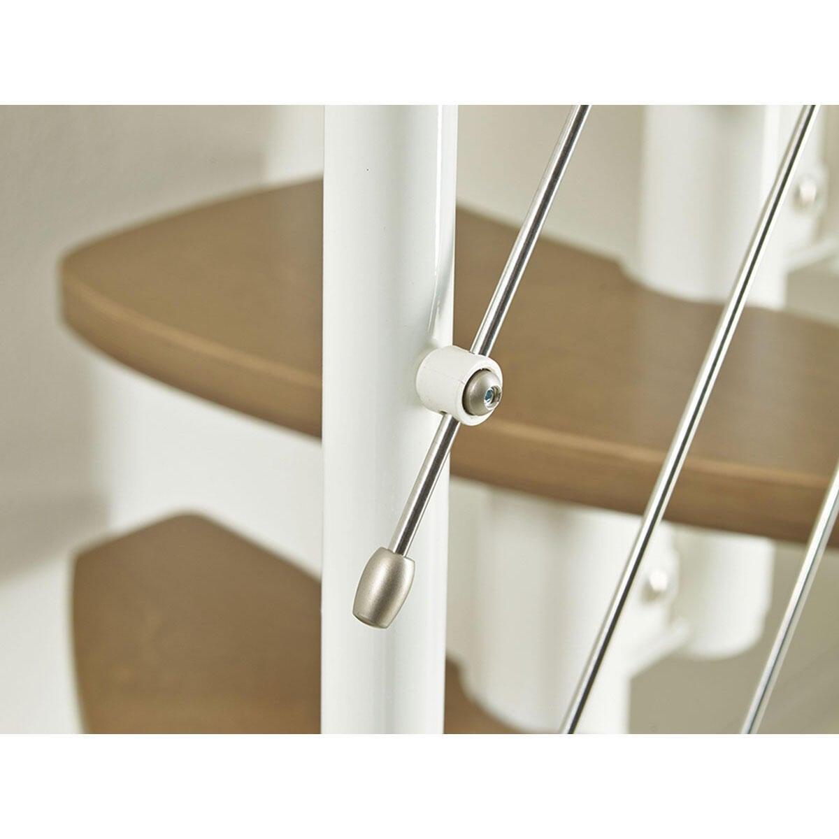 Scala salvaspazio dritto Zen FONTANOT L 59 cm, gradino betulla, struttura bianco - 7