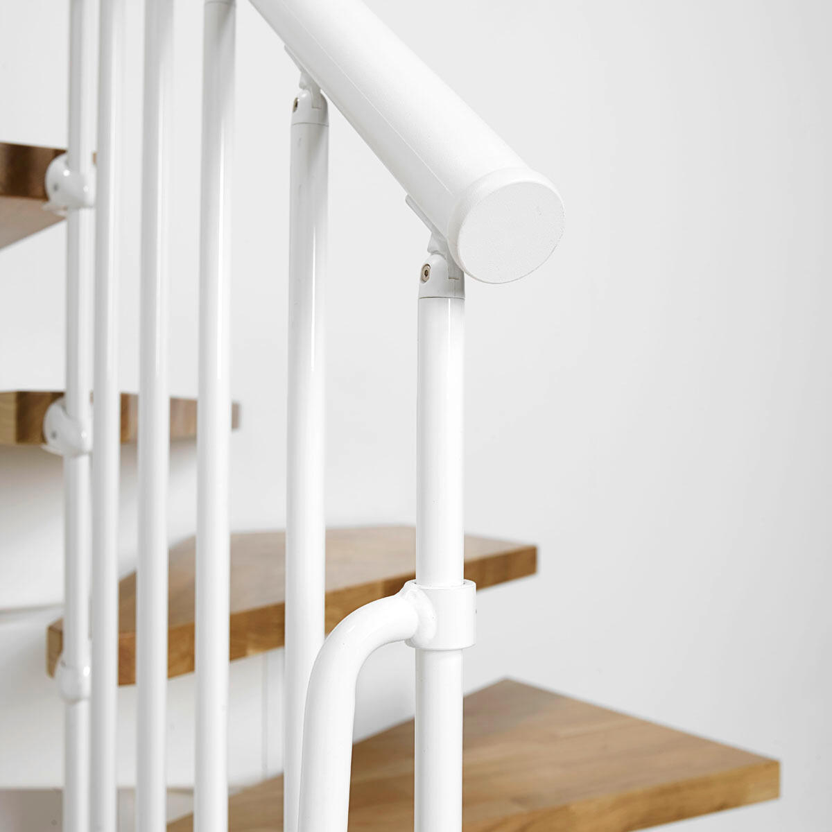 Scala a rampa due quarti di giro OAK90 FONTANOT L 70 cm, gradino rovere, struttura bianco - 3