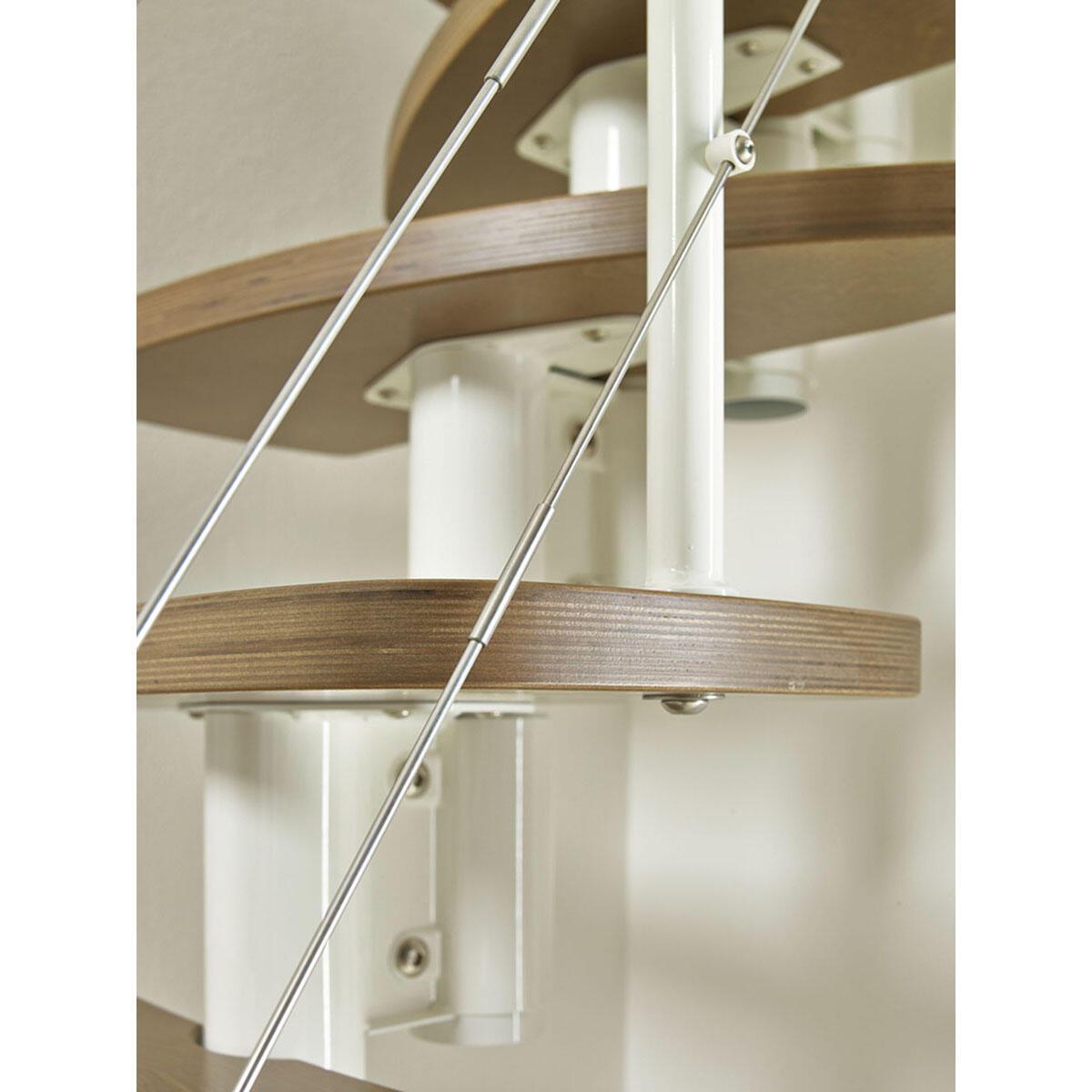 Scala salvaspazio dritto Zen FONTANOT L 59 cm, gradino betulla, struttura bianco - 9