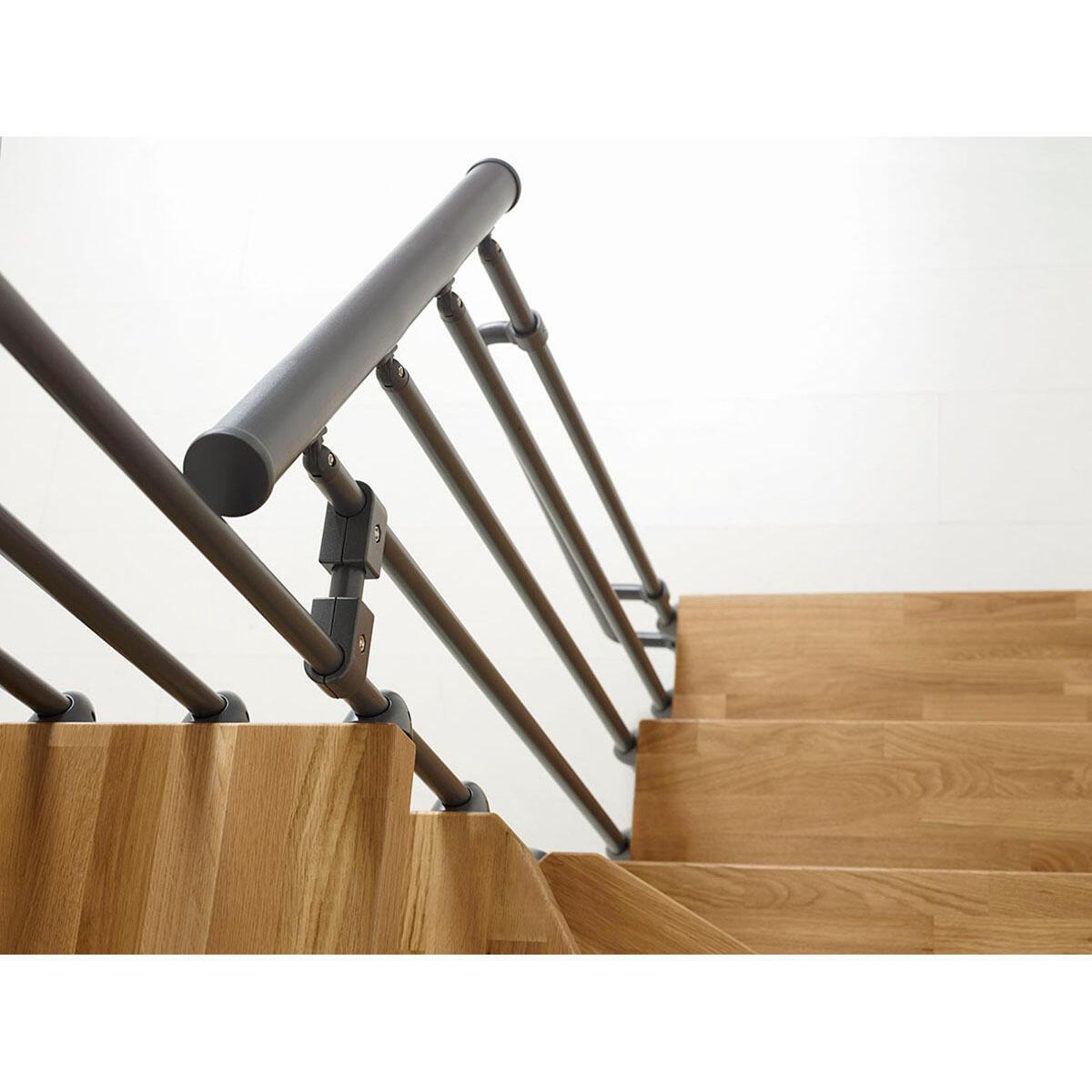 Scala a rampa due quarti di giro Oak FONTANOT L 90 cm, gradino rovere, struttura antracite - 6