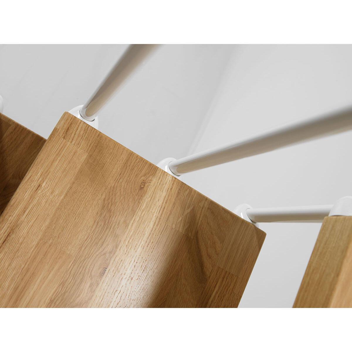 Scala a rampa 1/4 di giro OAK90 FONTANOT L 90 cm, gradino rovere, struttura bianco - 7
