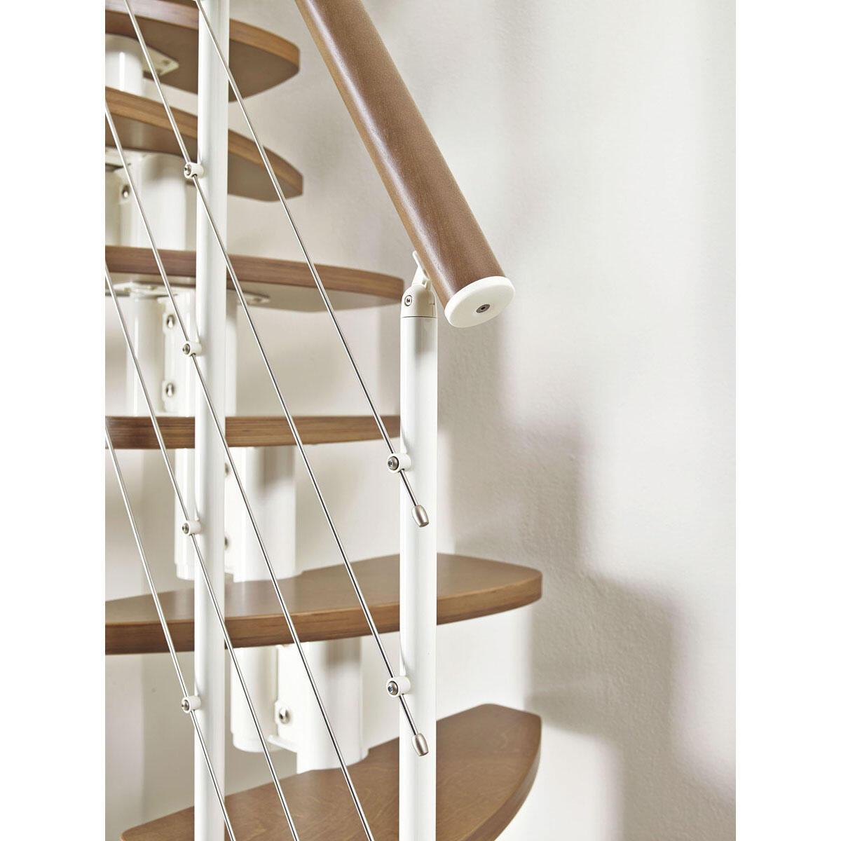 Scala salvaspazio dritto Zen FONTANOT L 59 cm, gradino betulla, struttura bianco - 3