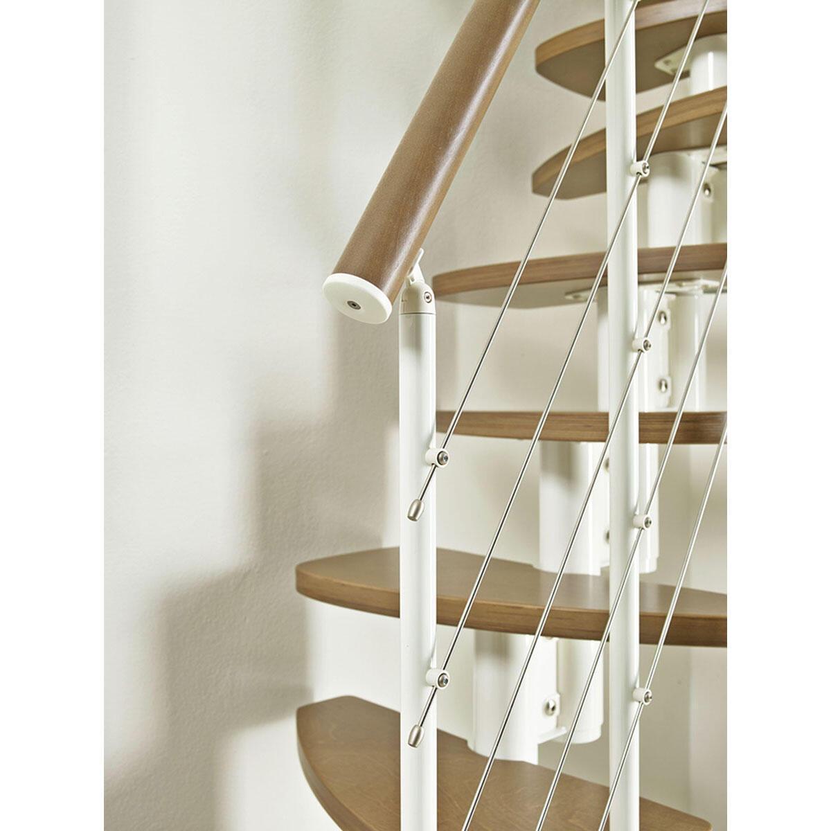 Scala salvaspazio dritto Zen FONTANOT L 59 cm, gradino betulla, struttura bianco - 6