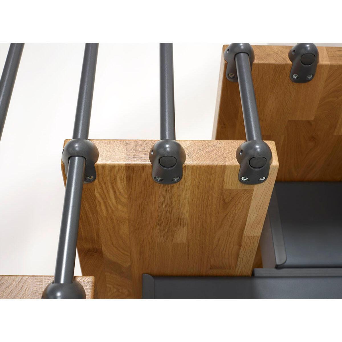 Scala a rampa due quarti di giro Oak FONTANOT L 90 cm, gradino rovere, struttura antracite - 7