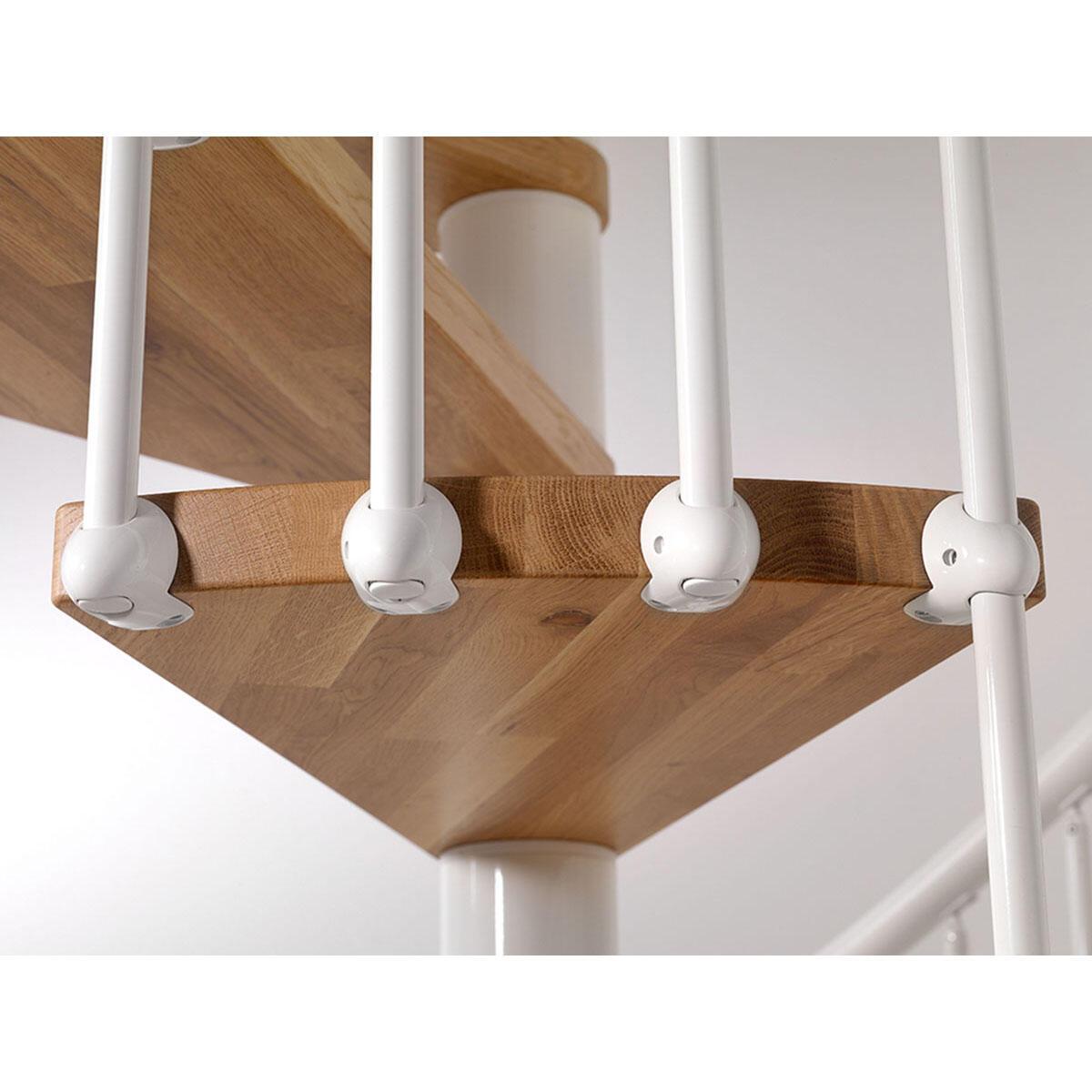 Scala a chiocciola tonda OAK70 FONTANOT L 110 cm, gradino naturale, struttura bianco - 2