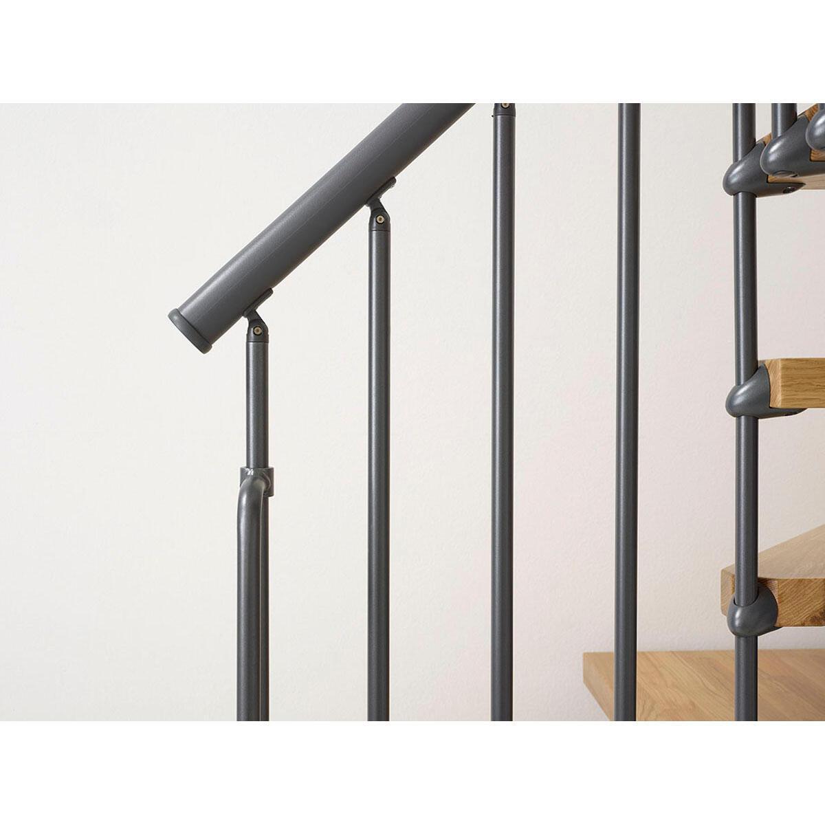 Scala a rampa 1/4 di giro OAK90 FONTANOT L 70 cm, gradino naturale, struttura antracite - 7