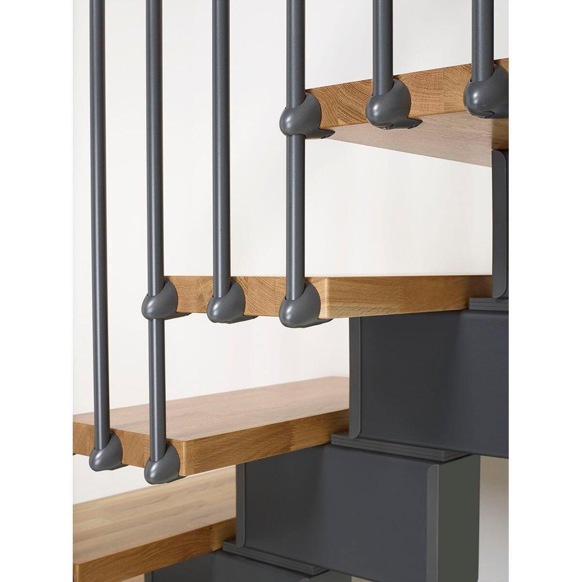 Scala a rampa due quarti di giro Oak FONTANOT L 90 cm, gradino rovere, struttura antracite - 2