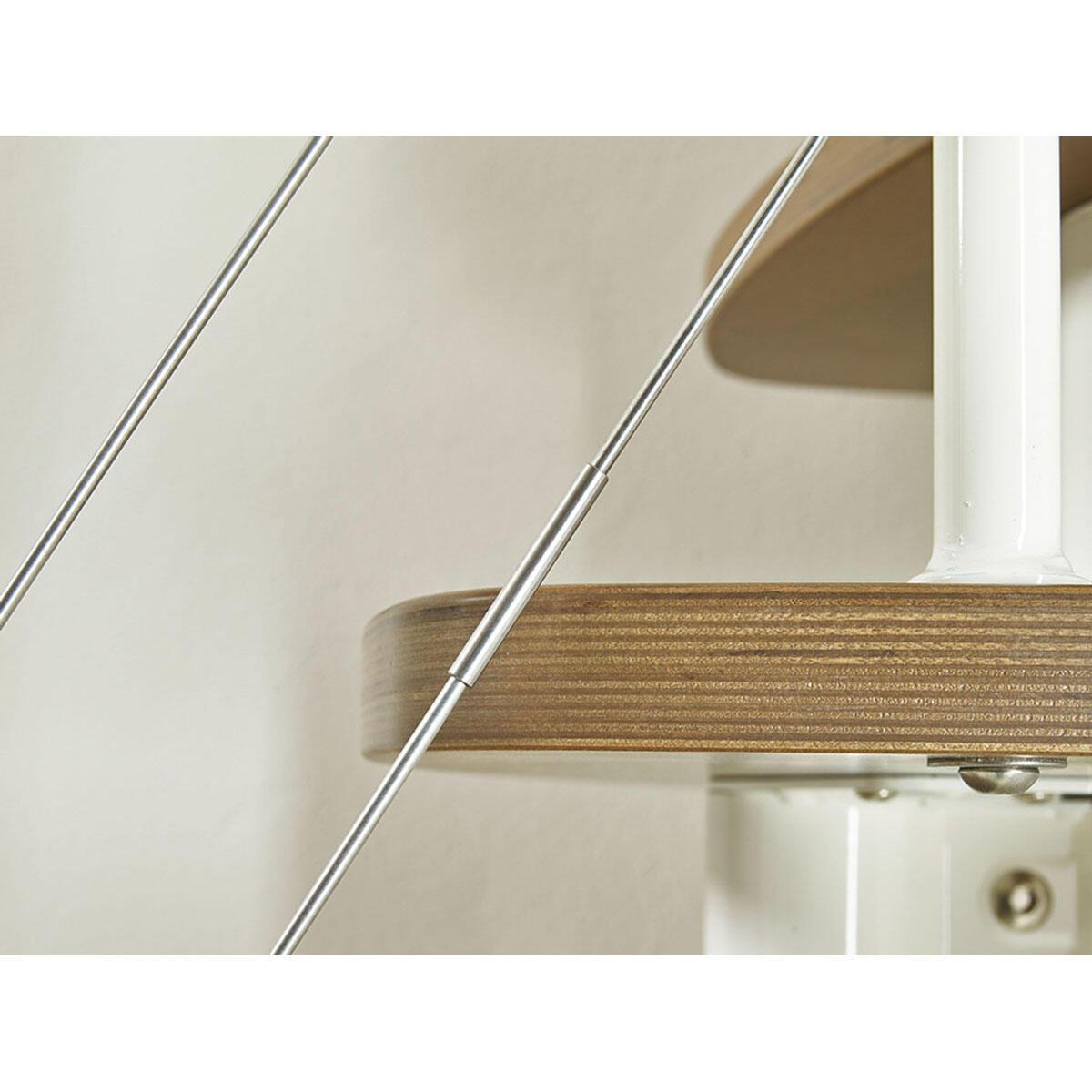 Scala salvaspazio dritto Zen FONTANOT L 59 cm, gradino betulla, struttura bianco - 2