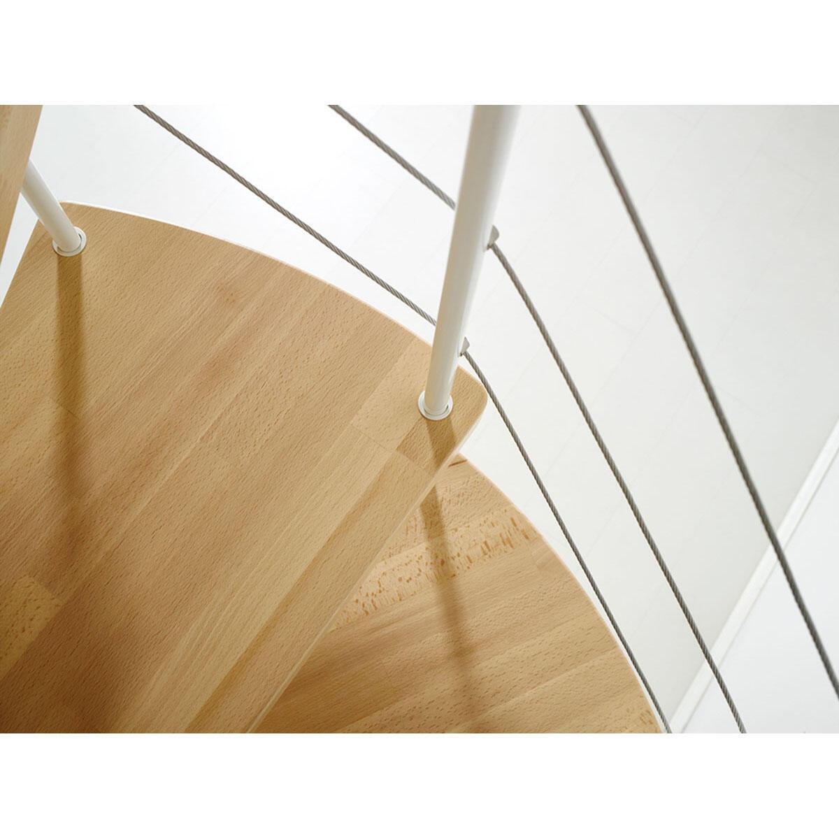 Scala a chiocciola tonda Symphonie FONTANOT L 120 cm, gradino noce, struttura bianco - 3