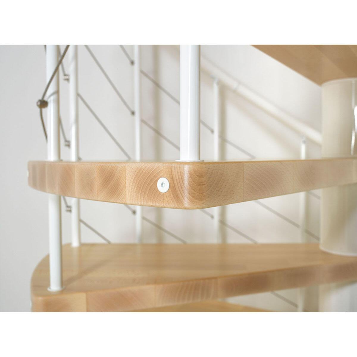 Scala a chiocciola tonda Symphonie FONTANOT L 120 cm, gradino noce, struttura bianco - 5