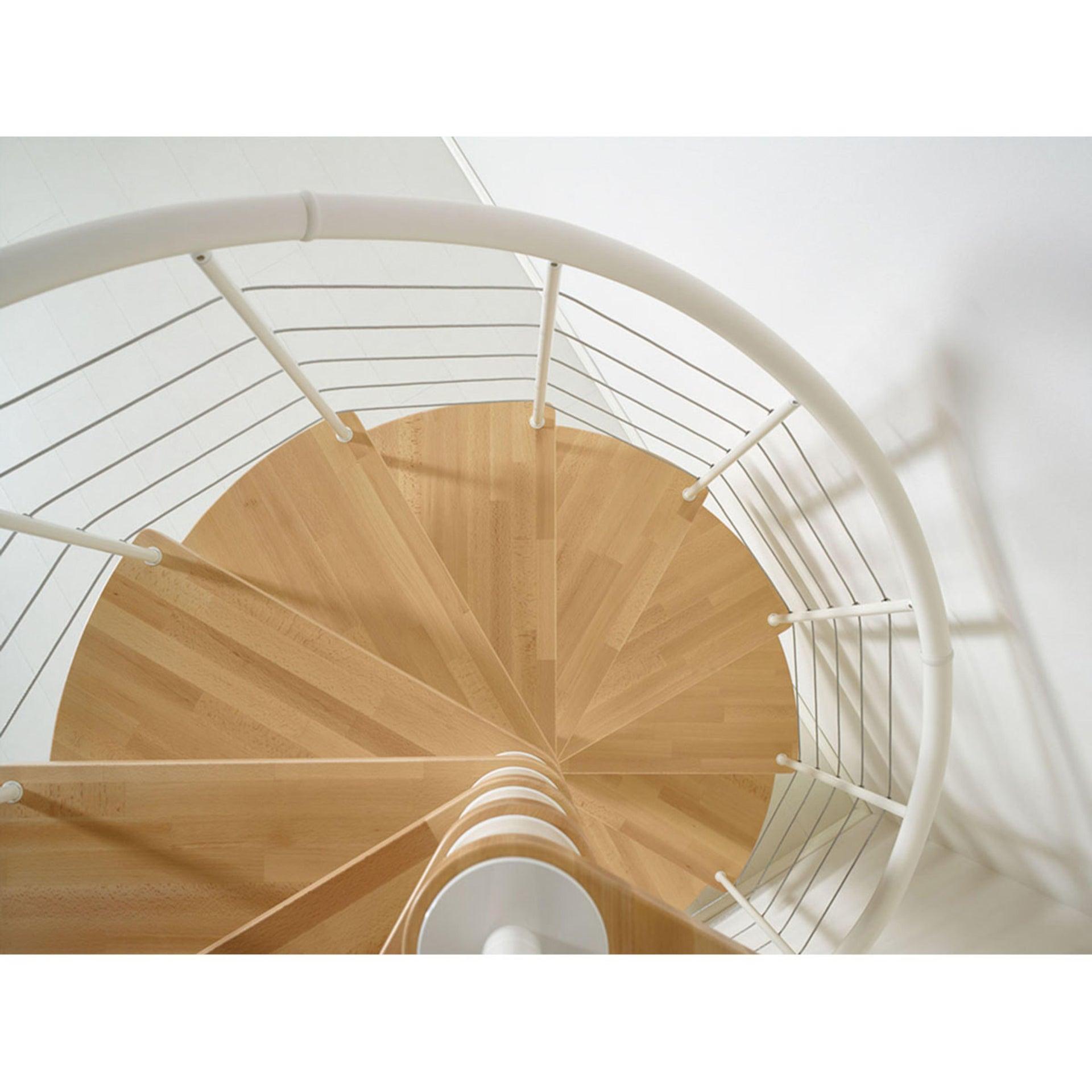 Scala a chiocciola tonda Symphonie FONTANOT L 120 cm, gradino noce, struttura bianco - 6