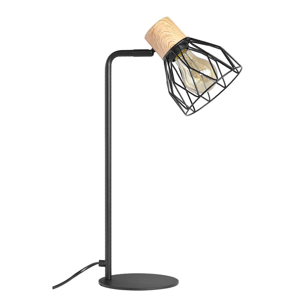 Lampada da tavolo Scandinavo Clayton nero , in legno, SEYNAVE - 2