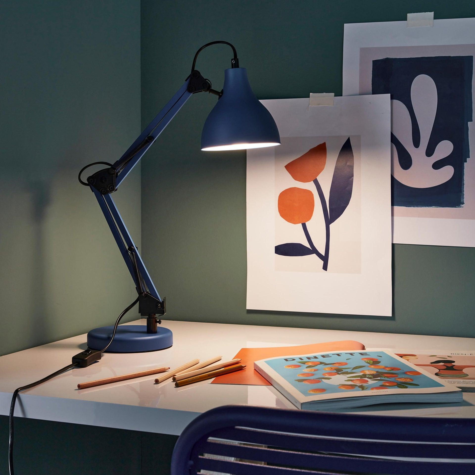 Lampada da scrivania Pop Ennis blu , in metallo, INSPIRE - 6