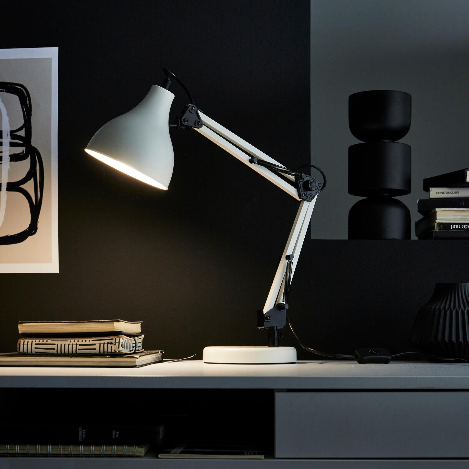 Lampada da scrivania Industriale Ennis bianco , in metallo, INSPIRE - 9