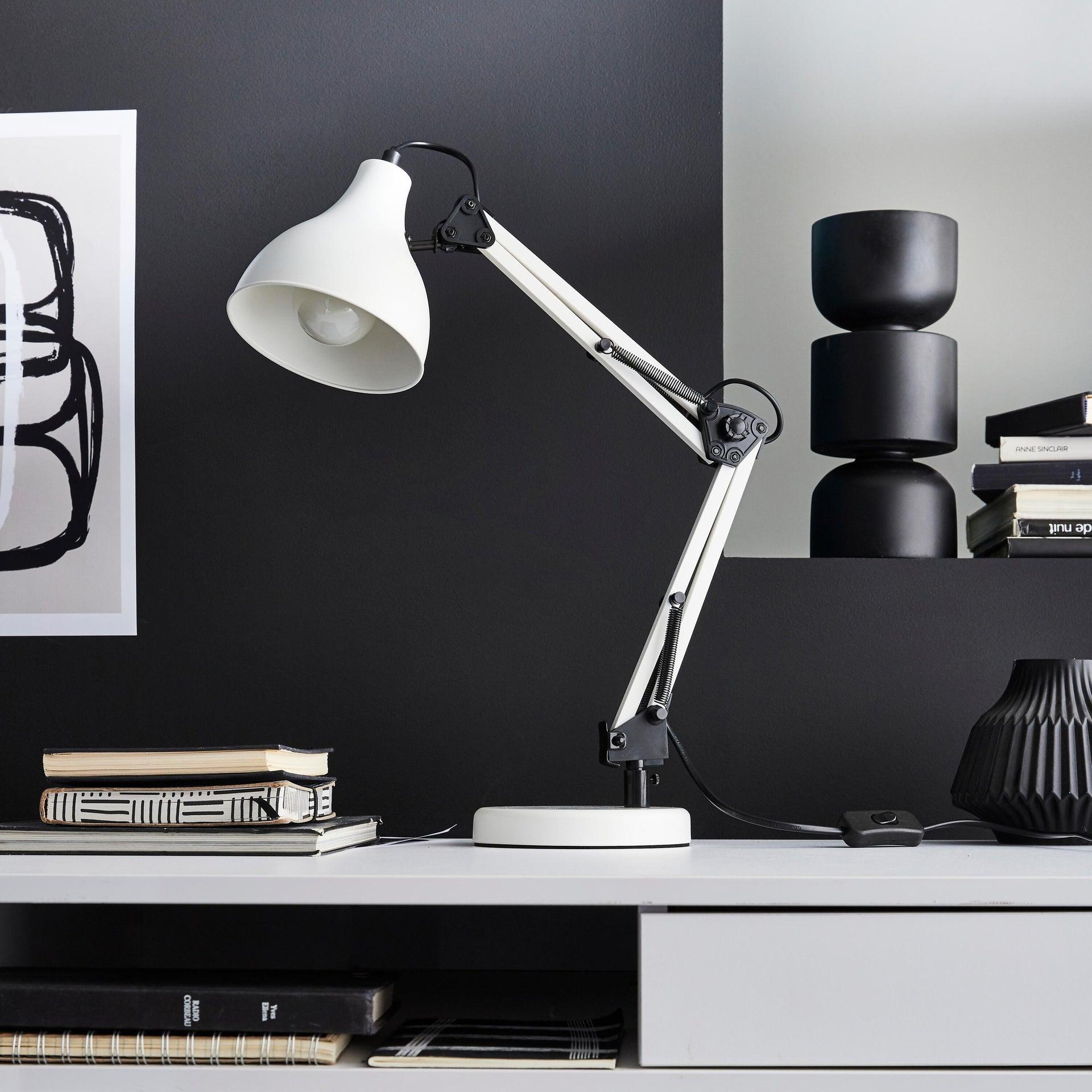 Lampada da scrivania Industriale Ennis bianco , in metallo, INSPIRE - 1