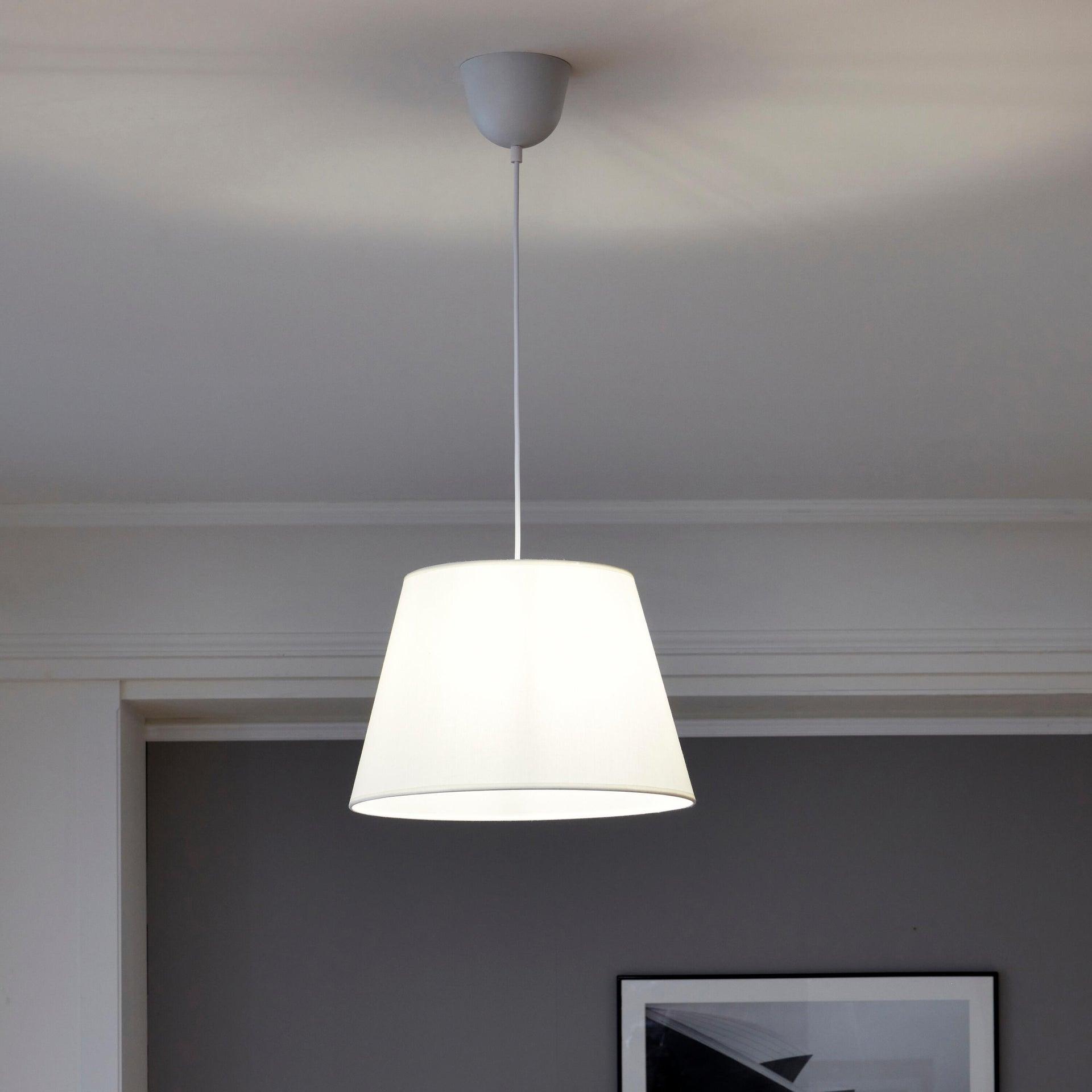 Lampadario Moderno Sitia bianco in tessuto, D. 38 cm, L. 25 cm, INSPIRE - 3