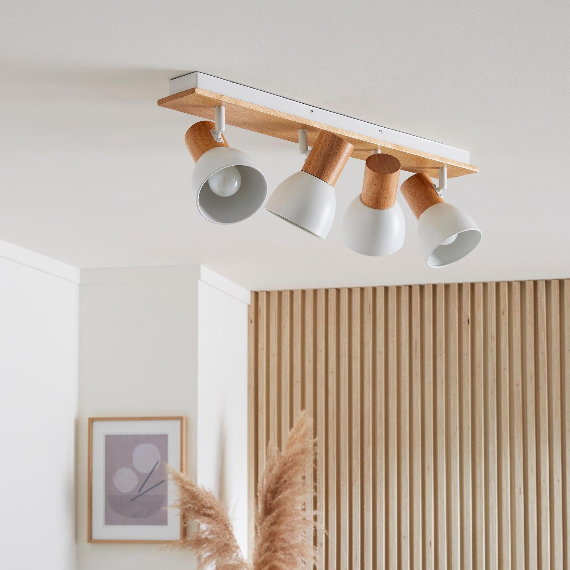 Faretto a muro Venosa bianco/legno, in metallo, E14 4xIP20 INSPIRE - 4