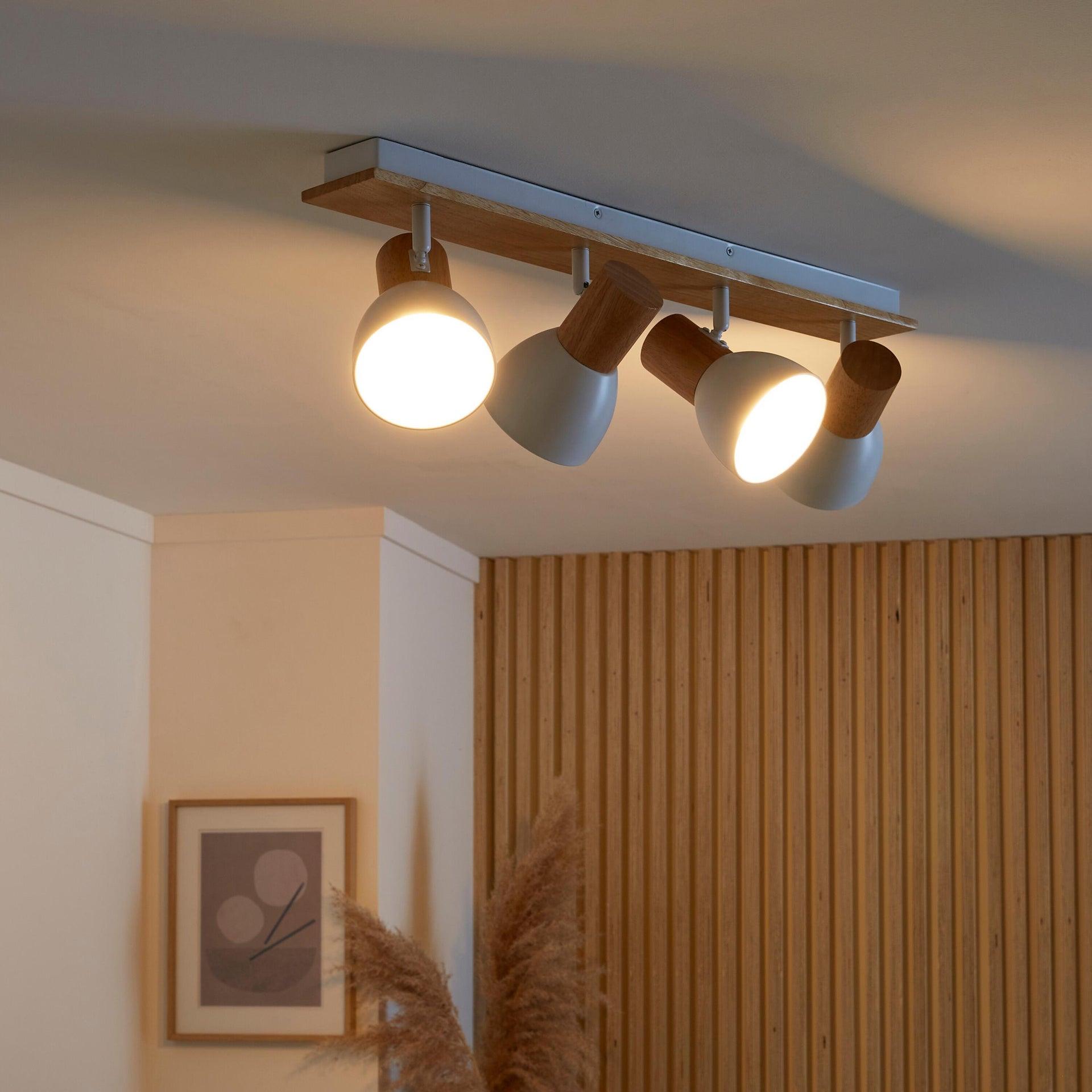 Faretto a muro Venosa bianco/legno, in metallo, E14 4xIP20 INSPIRE - 2