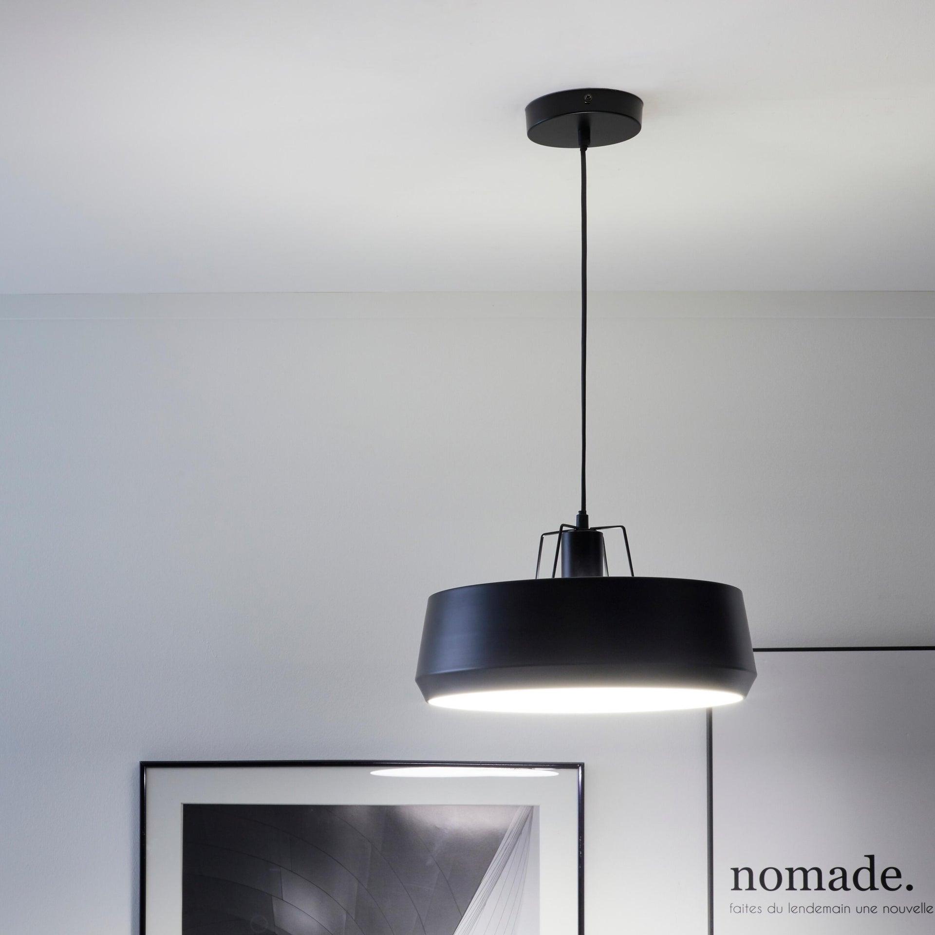 Lampadario Industriale Glint nero in metallo, D. 35 cm, L. 32 cm, INSPIRE - 1