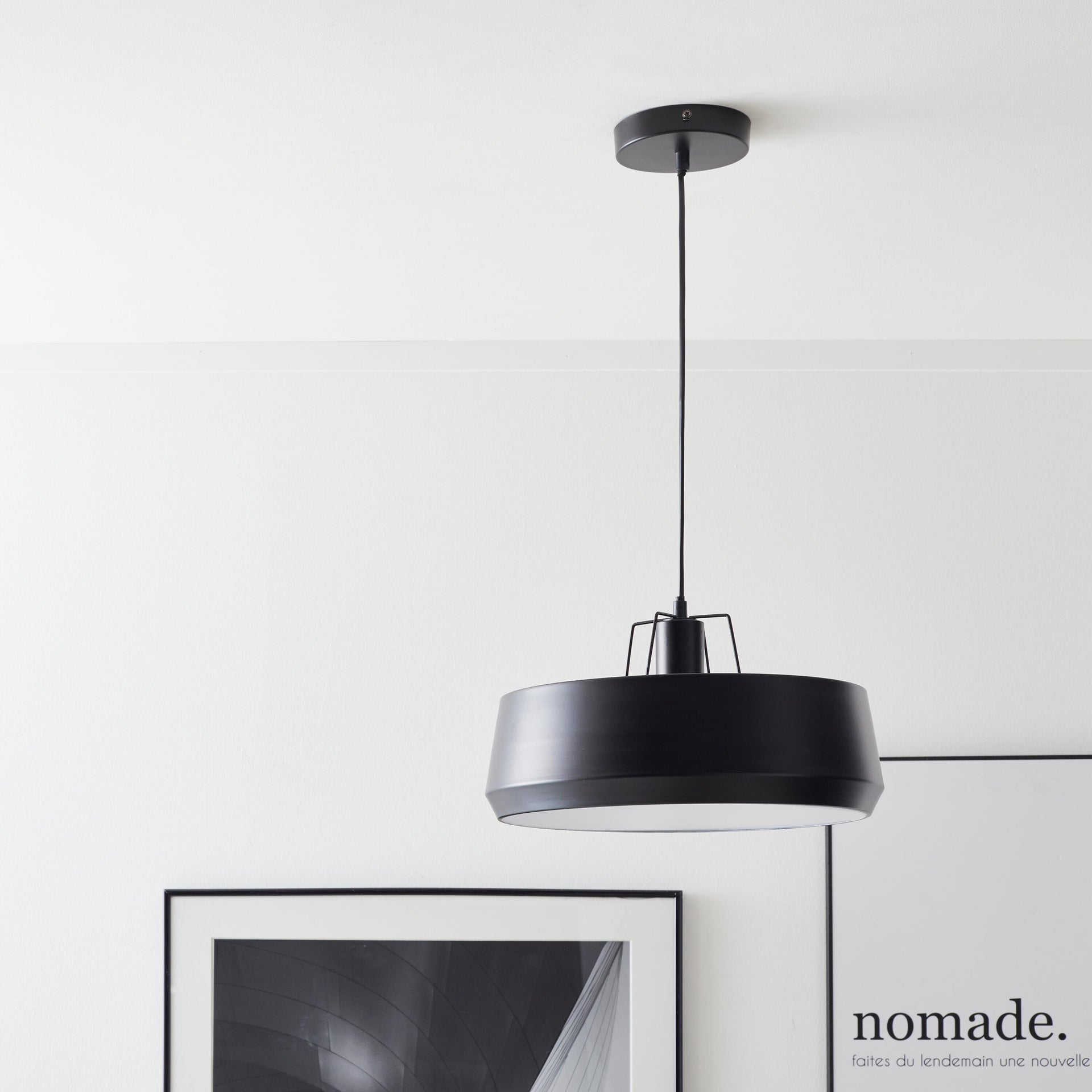 Lampadario Industriale Glint nero in metallo, D. 35 cm, L. 32 cm, INSPIRE - 2