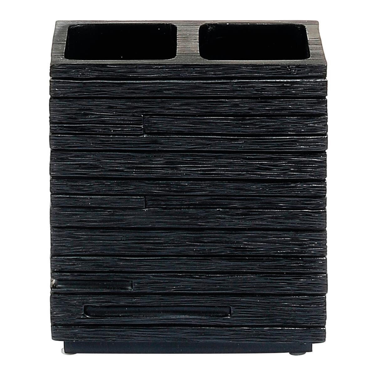 Bicchiere porta spazzolini in resina nero - 2