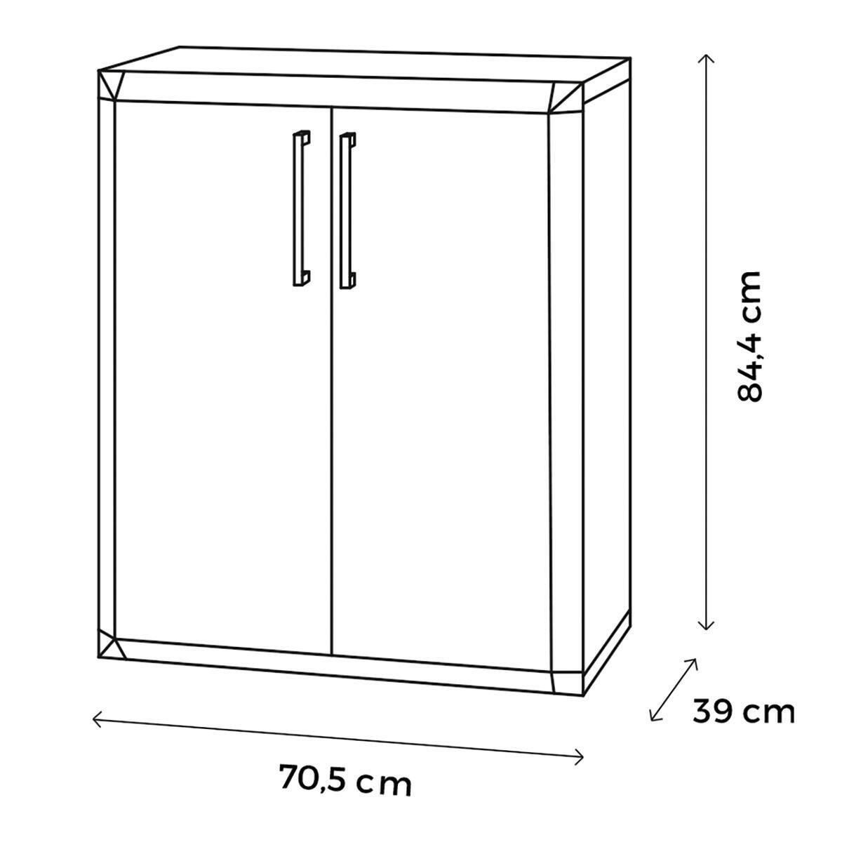 Armadietto basso Thetris Eco L 70.5 x P 40 x H 84.5 cm grigio chiaro e grigio antracite - 2