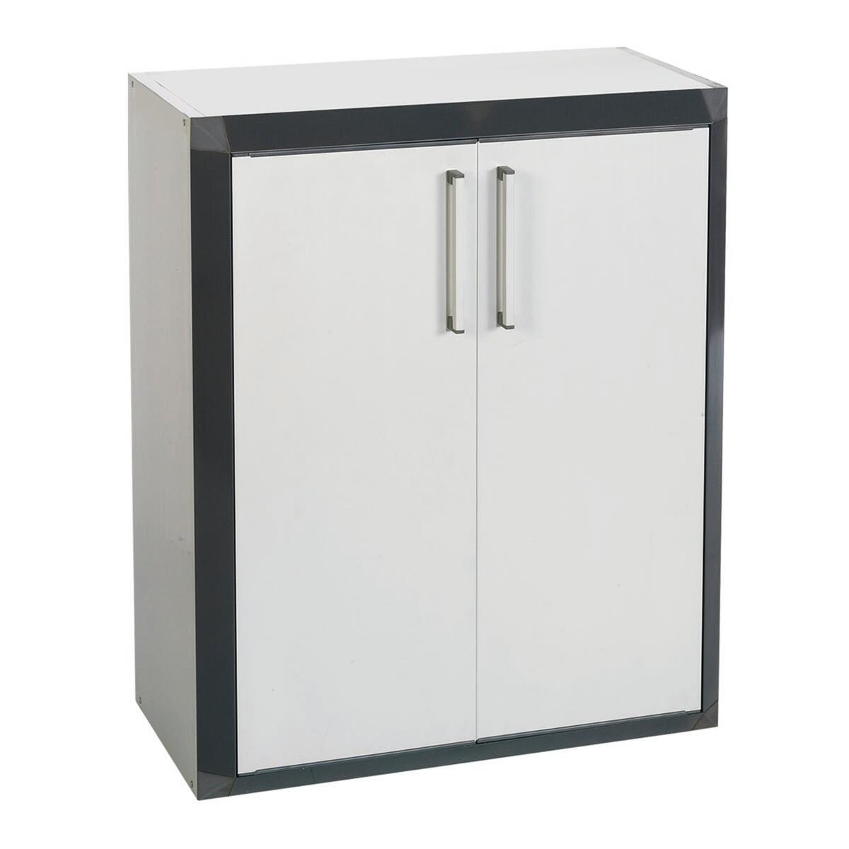 Armadietto basso Thetris Eco L 70.5 x P 40 x H 84.5 cm grigio chiaro e grigio antracite - 1
