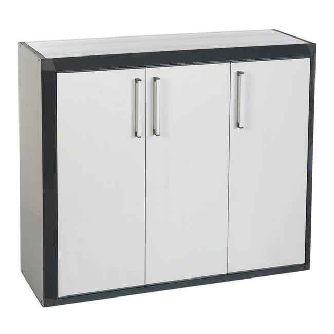 Armadietto basso Thetris Eco L 102 x P 40 x H 84.5 cm grigio chiaro e grigio antracite - 1