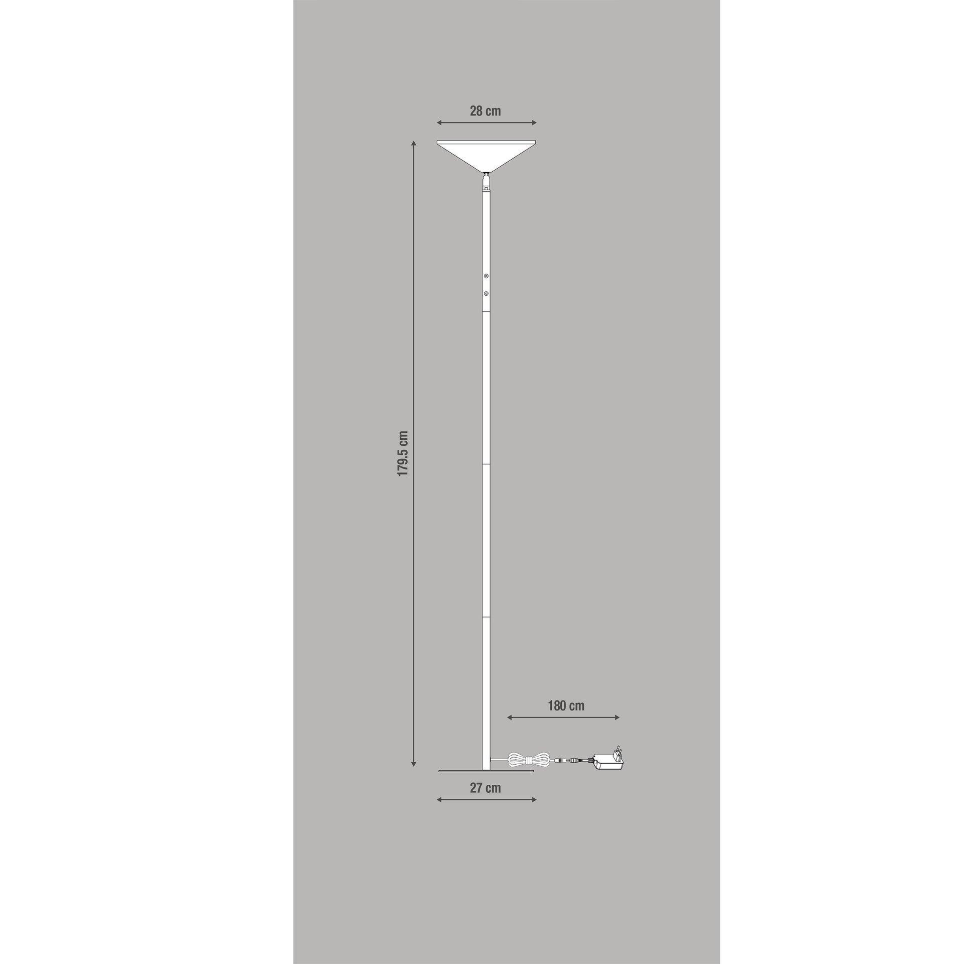 Lampada da terra Sauki grigio, in metallo, H180cm LED integrato INSPIRE - 8