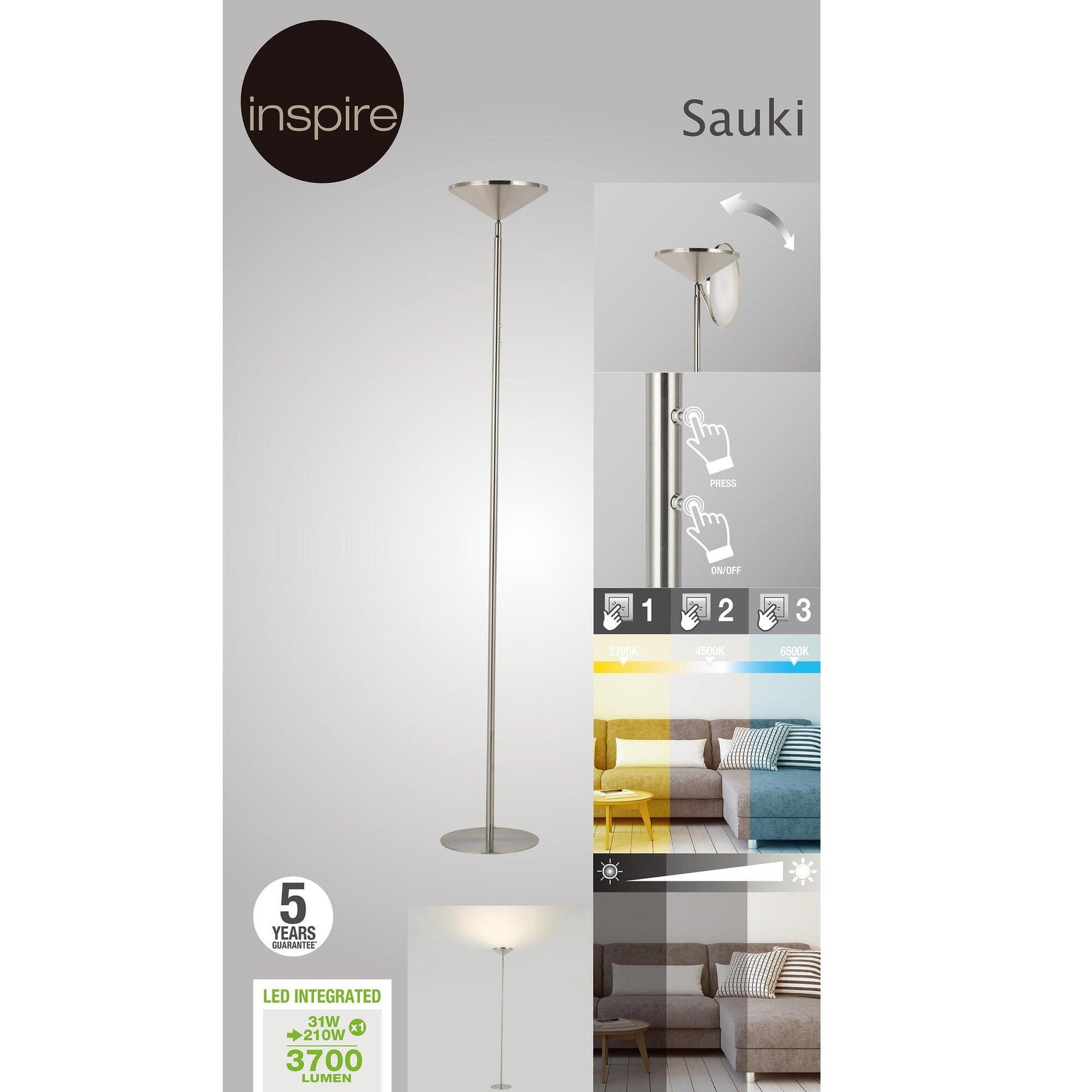 Lampada da terra Sauki grigio, in metallo, H180cm LED integrato INSPIRE - 7