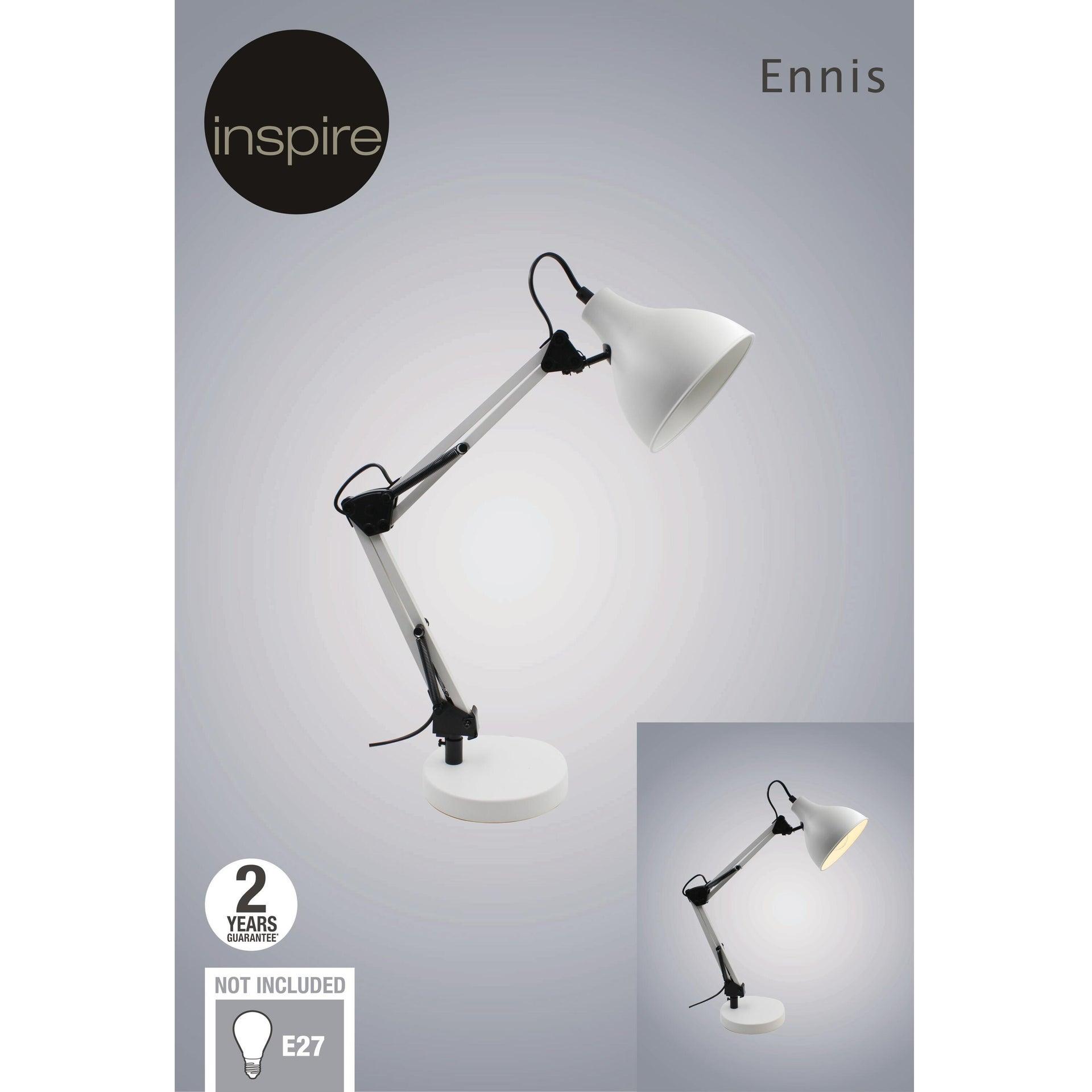 Lampada da scrivania Industriale Ennis bianco , in metallo, INSPIRE - 6