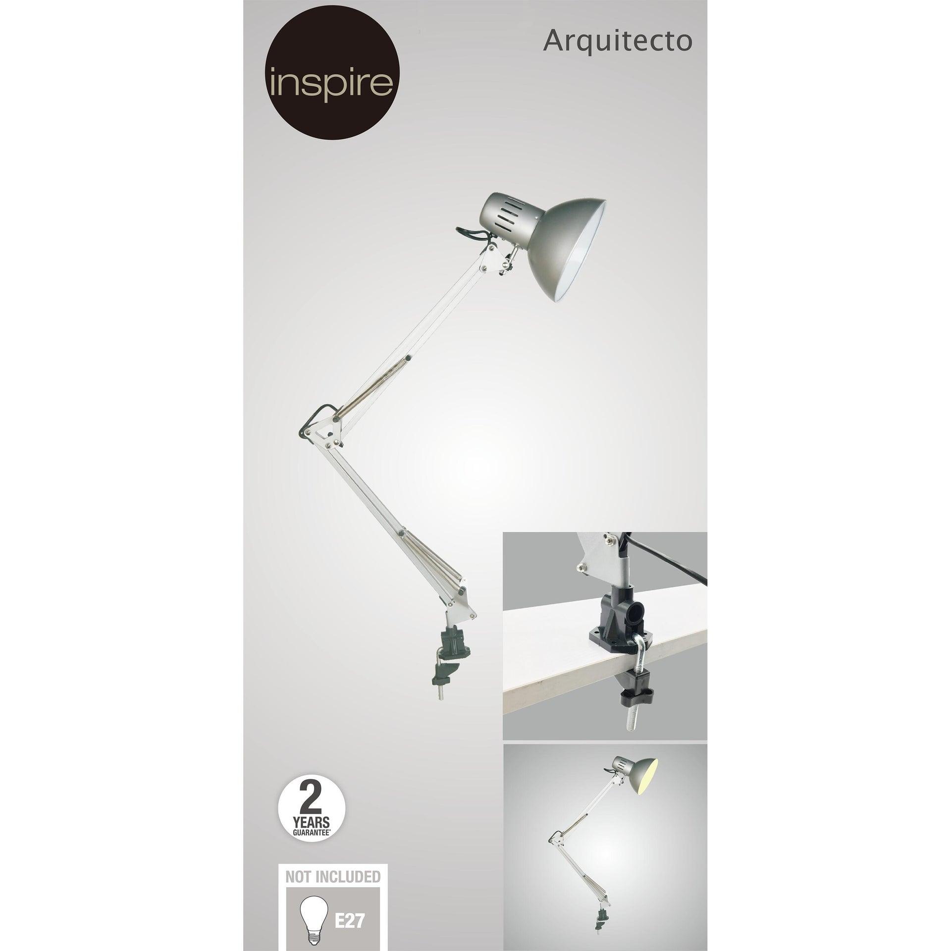 Lampada da scrivania Industriale Arquitecto grigio , in metallo, INSPIRE - 11