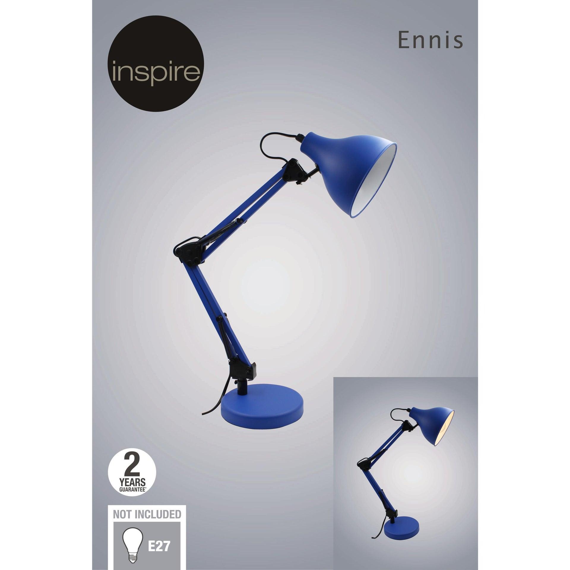 Lampada da scrivania Pop Ennis blu , in metallo, INSPIRE - 5