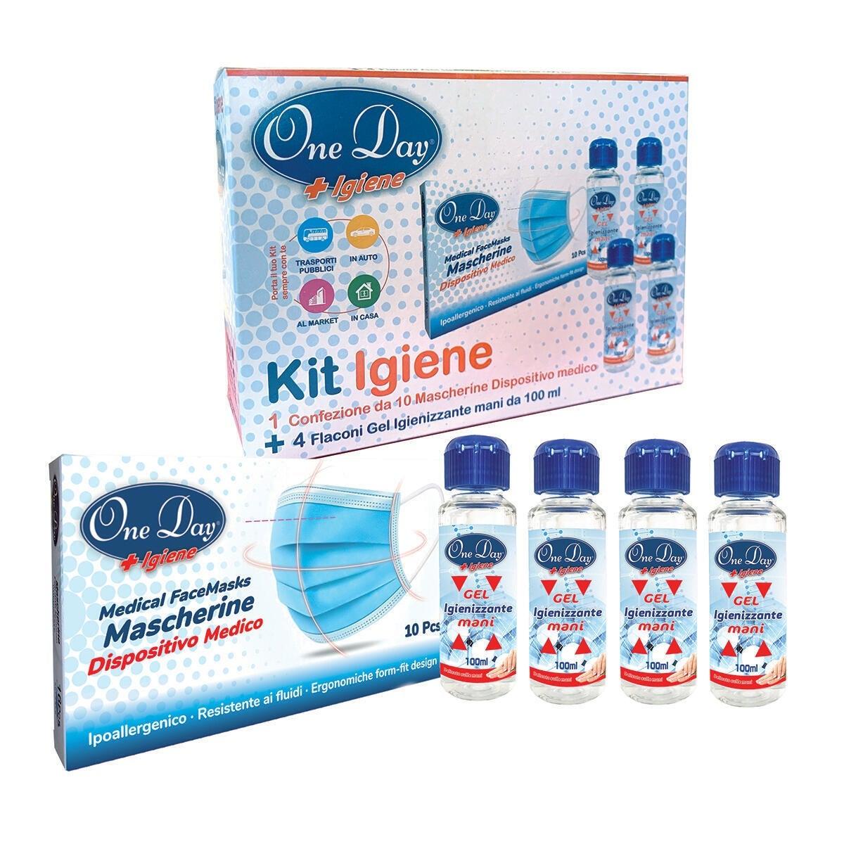 Mascherina igienica Kit One Day 10 mascherine+4 flaconi gel 10 pezzi - 1
