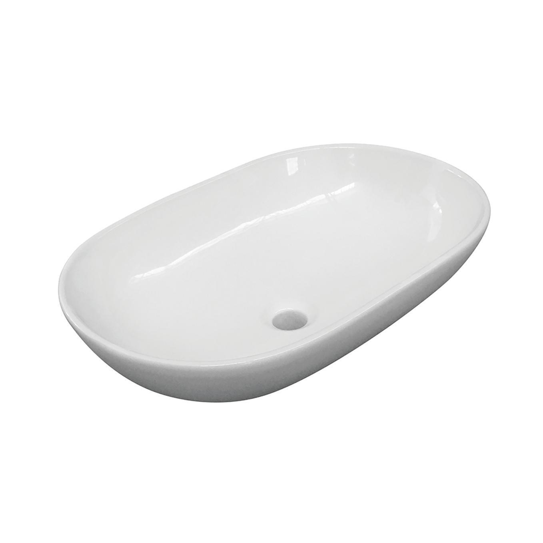 Lavabo free-standing d'appoggio ovale Eolian in porcellana L 60 x P 39.5 x H 20 cm bianco