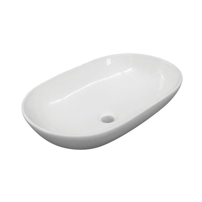 Lavabo free-standing d'appoggio ovale Eolian in porcellana L 60 x P 39.5 x H 20 cm bianco - 1